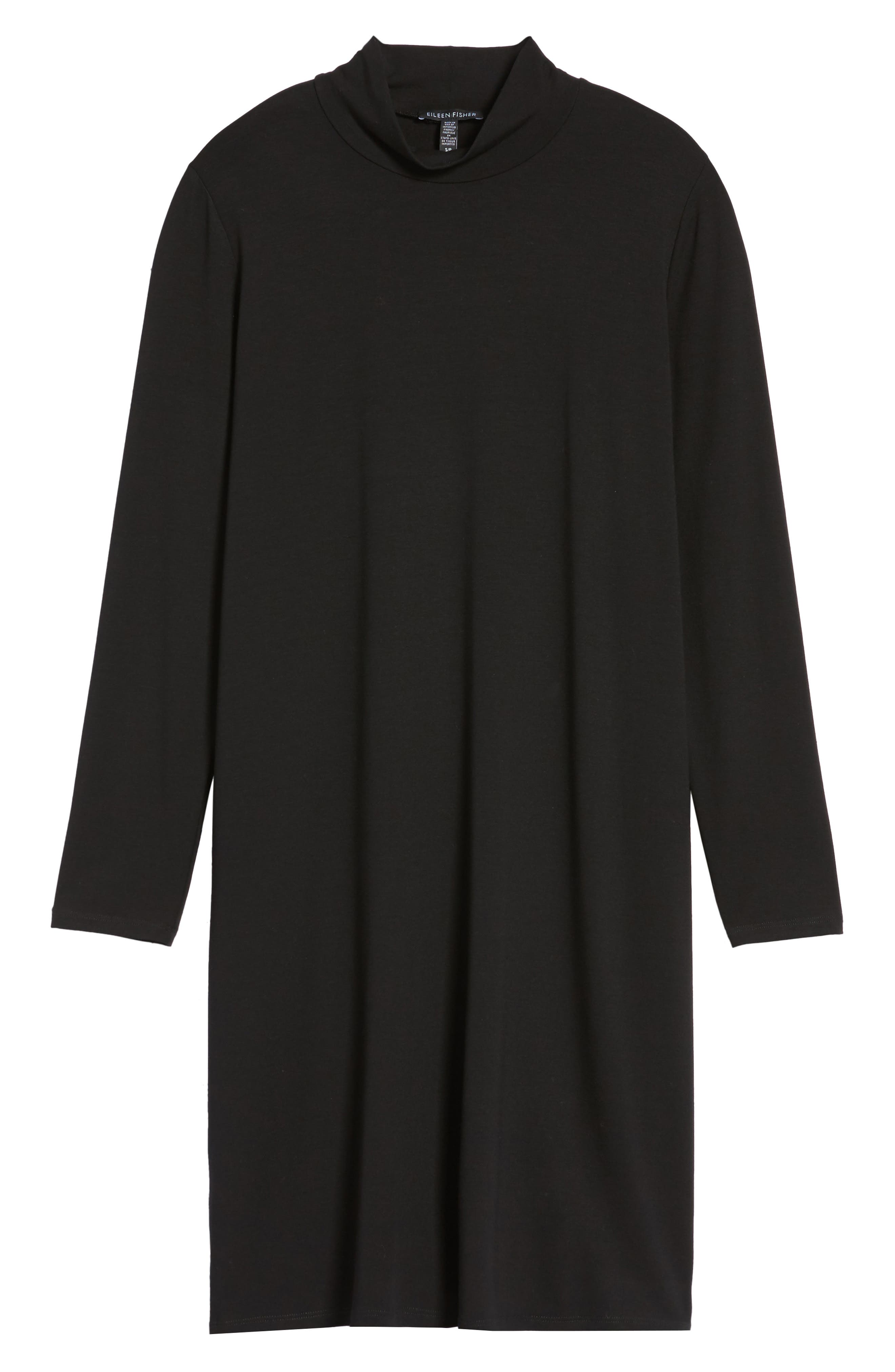Mock Neck Shift Dress,                             Alternate thumbnail 6, color,                             001