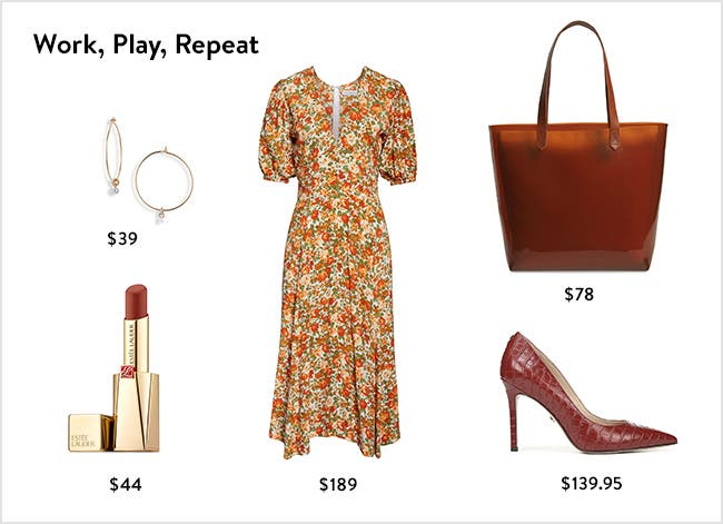 Work, play, repeat: women's clothing, shoes, accessories and beauty.