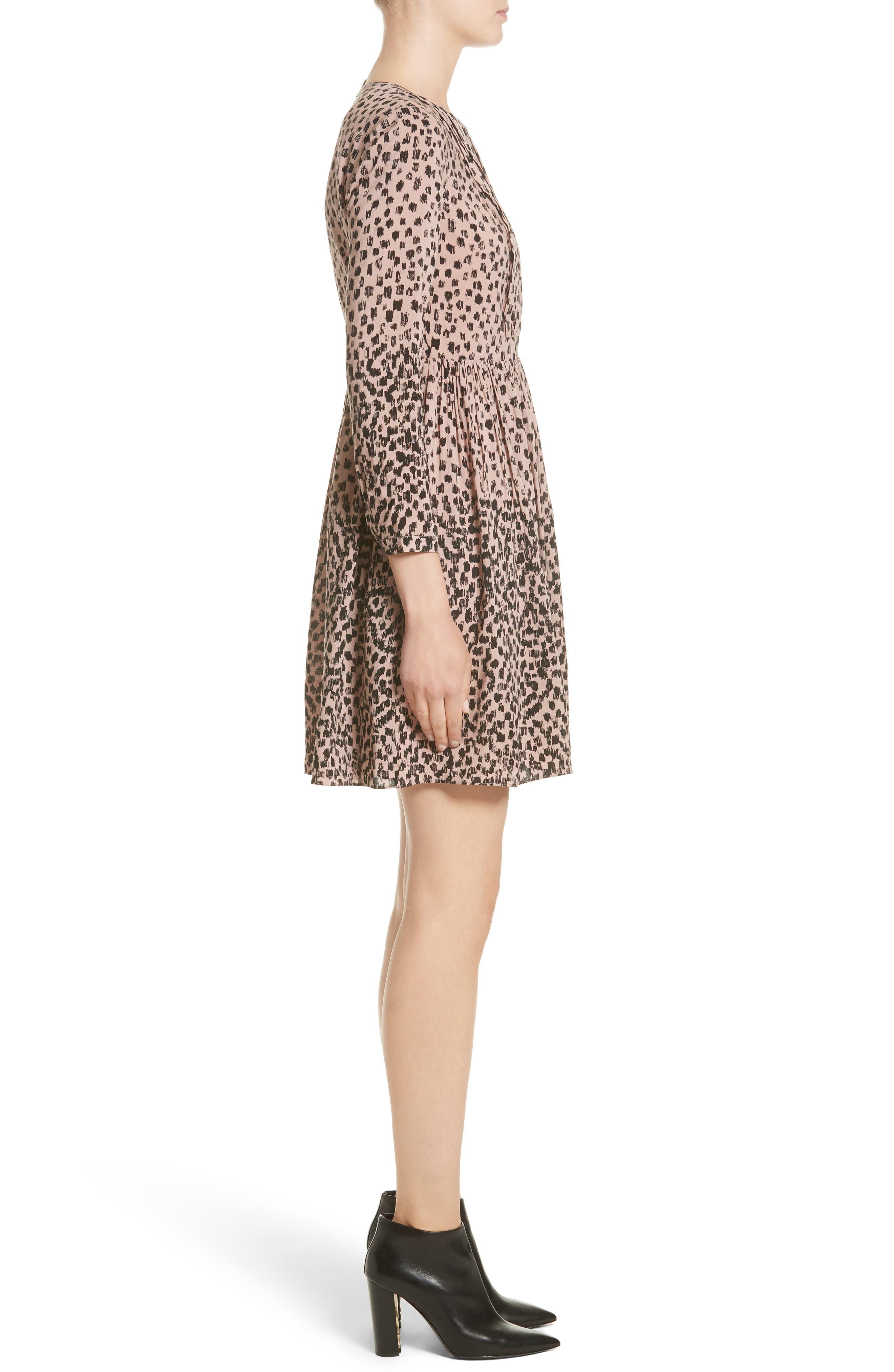Karinkalt Leather Trim Print Dress,                             Alternate thumbnail 3, color,                             683