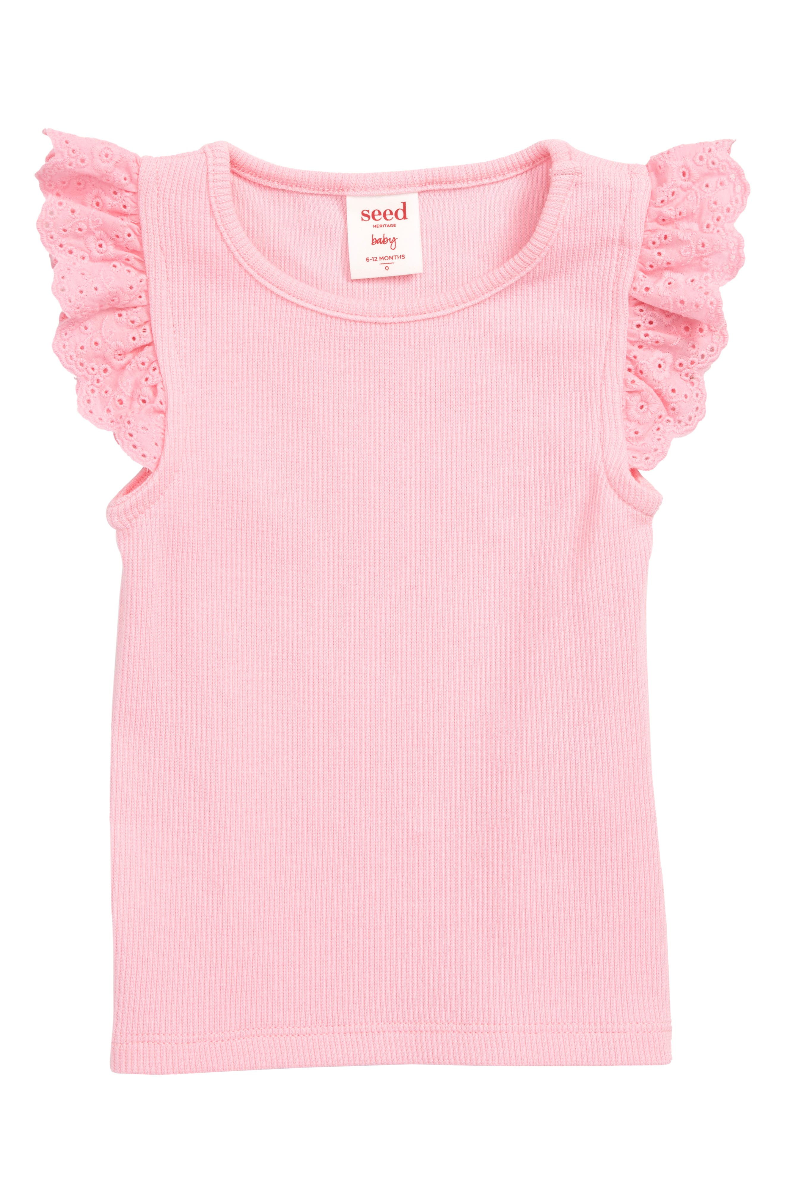 Rib Knit Broderie Tank, Main, color, PINK FIZZ