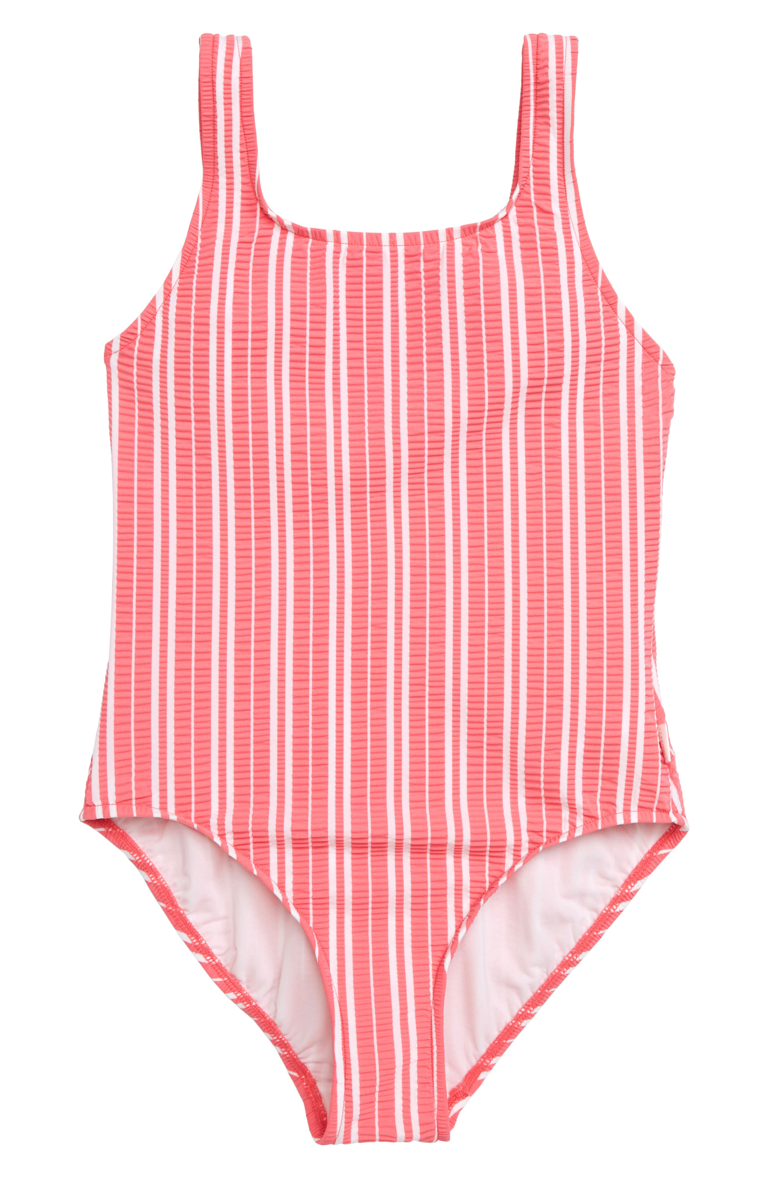 Tropical Vibes '80s One-Piece Swimsuit,                             Main thumbnail 1, color,                             RED/ WHITE