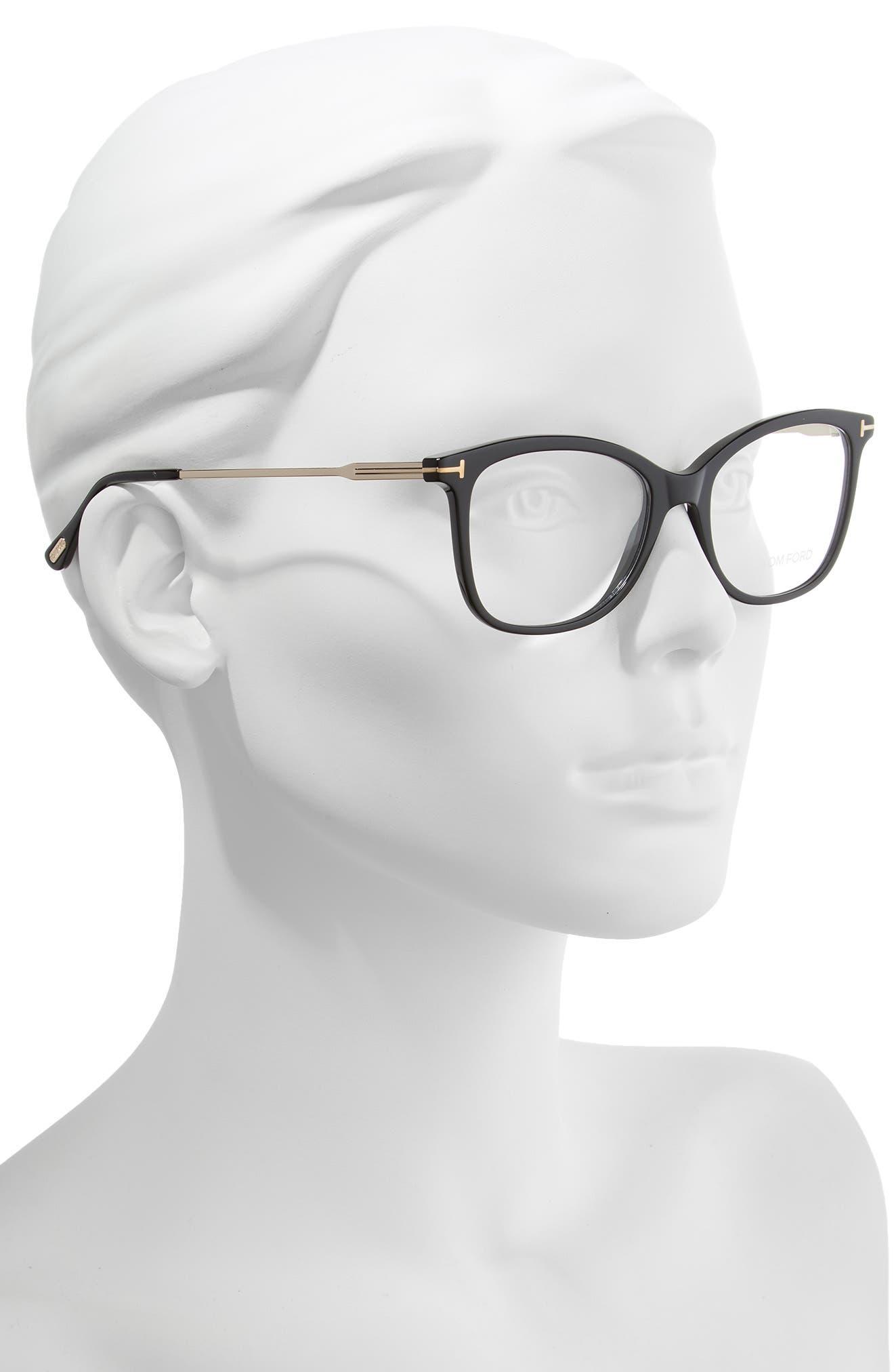 52mm Round Optical Glasses,                             Alternate thumbnail 2, color,                             SHINY BLACK ACETATE