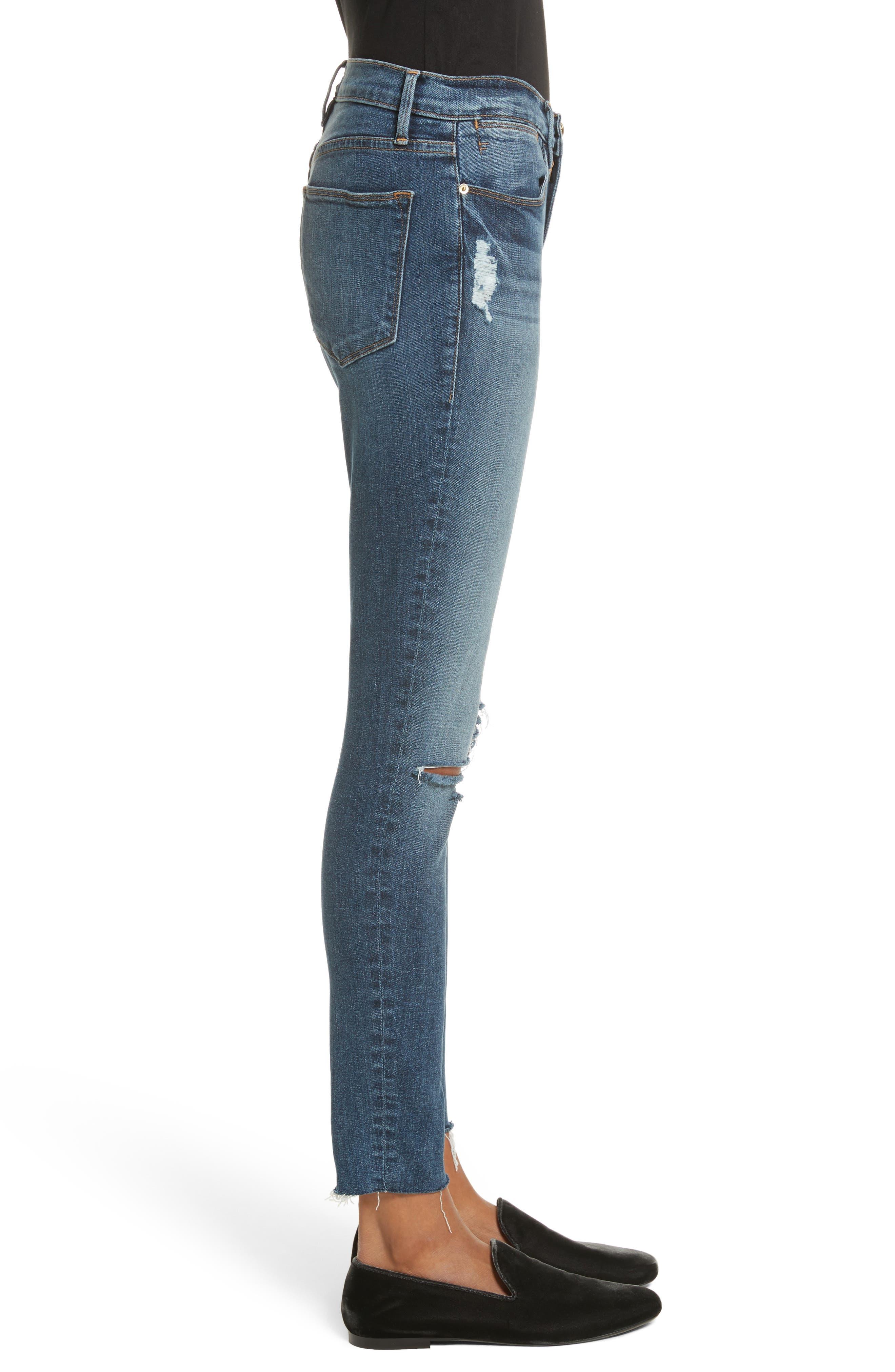 Le High Raw Hem Skinny Jeans,                             Alternate thumbnail 3, color,                             420