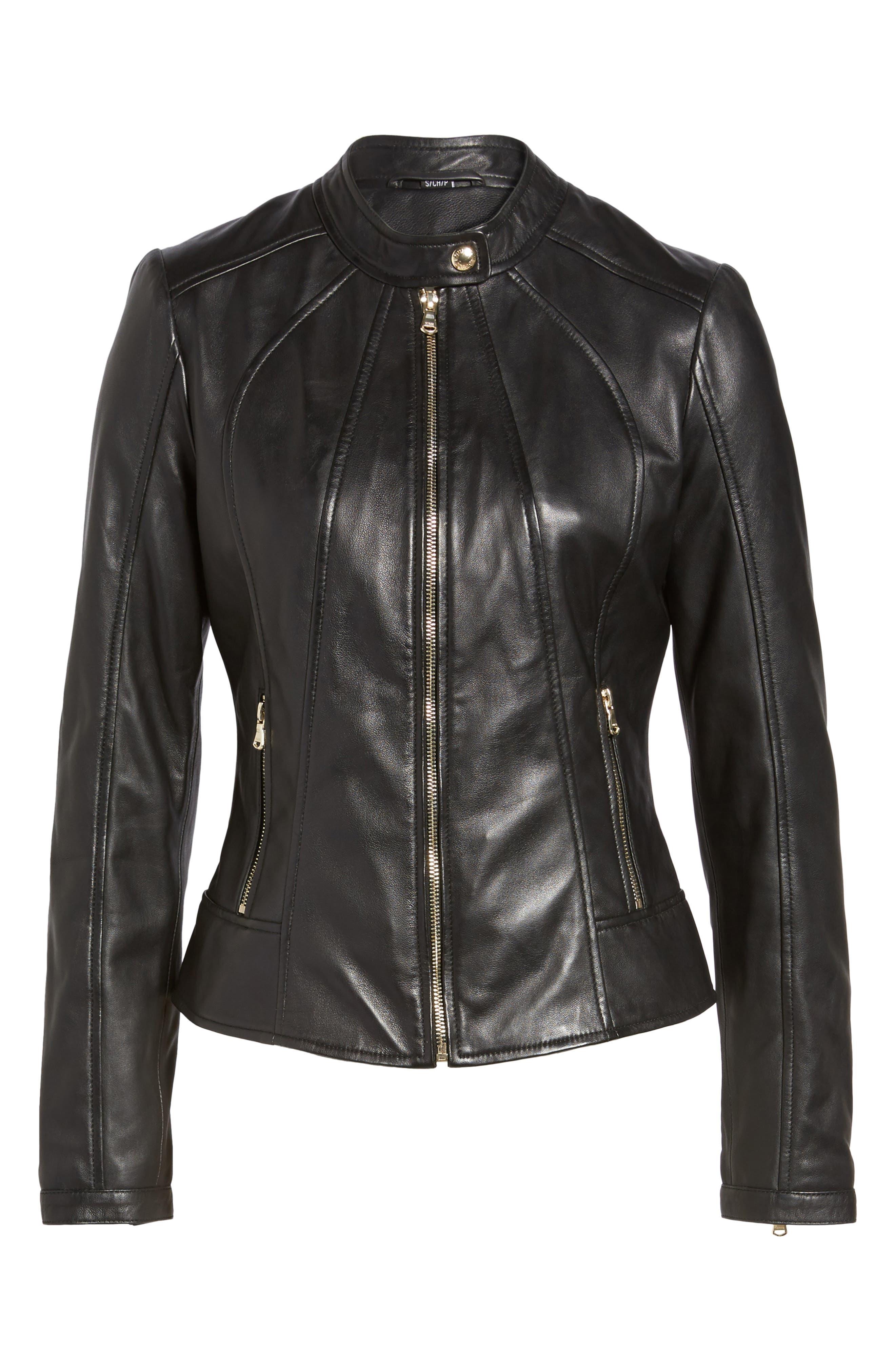 Collarless Leather Moto Jacket,                             Alternate thumbnail 5, color,                             001