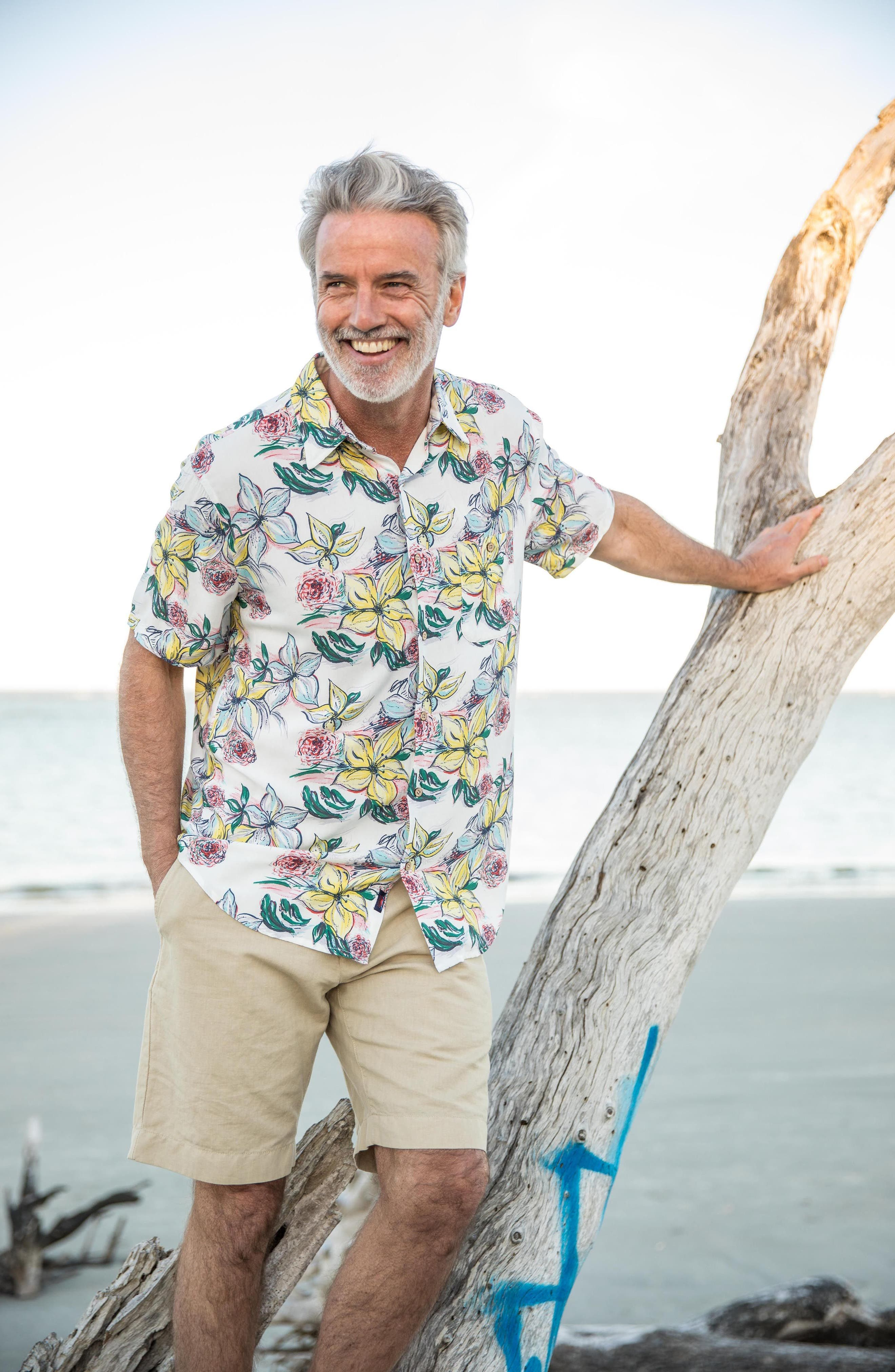 Hawaiian Print Sport Shirt,                             Alternate thumbnail 7, color,                             400