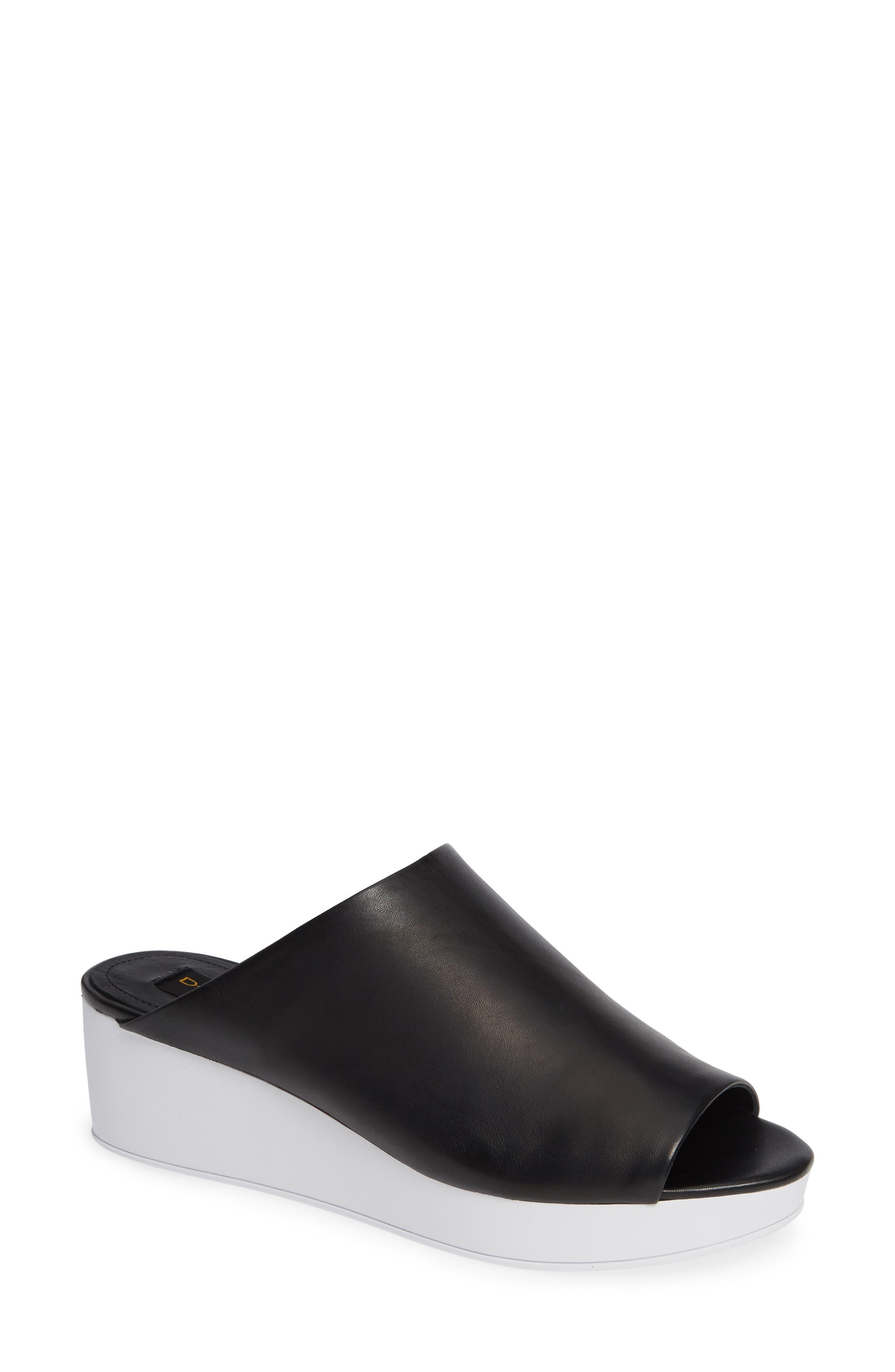 Donna Karan Reisley Wedge Slide Sandal,                         Main,                         color, BLACK LEATHER