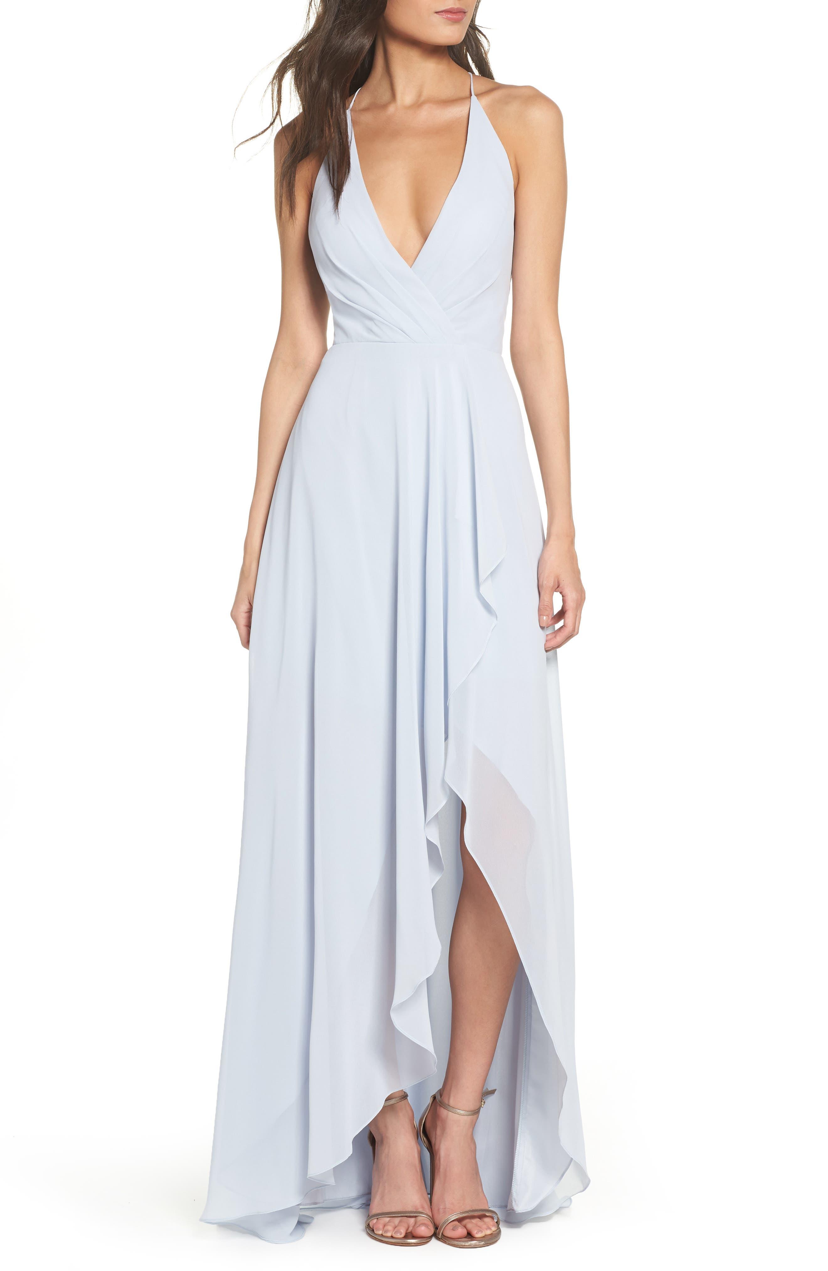 JENNY YOO Farrah Ruffle Chiffon Gown, Main, color, WHISPER BLUE