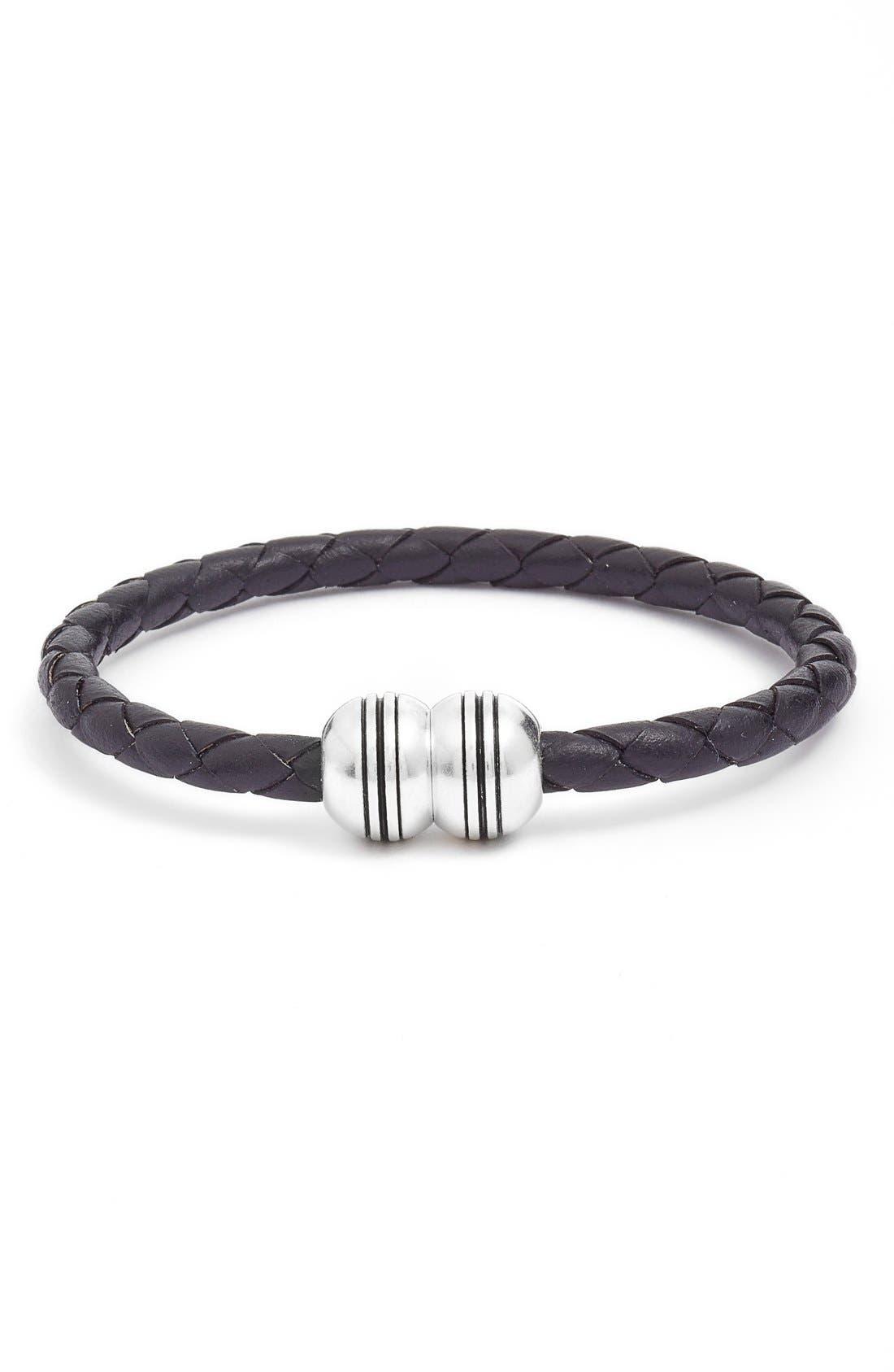 Braided Leather Bracelet,                             Main thumbnail 2, color,