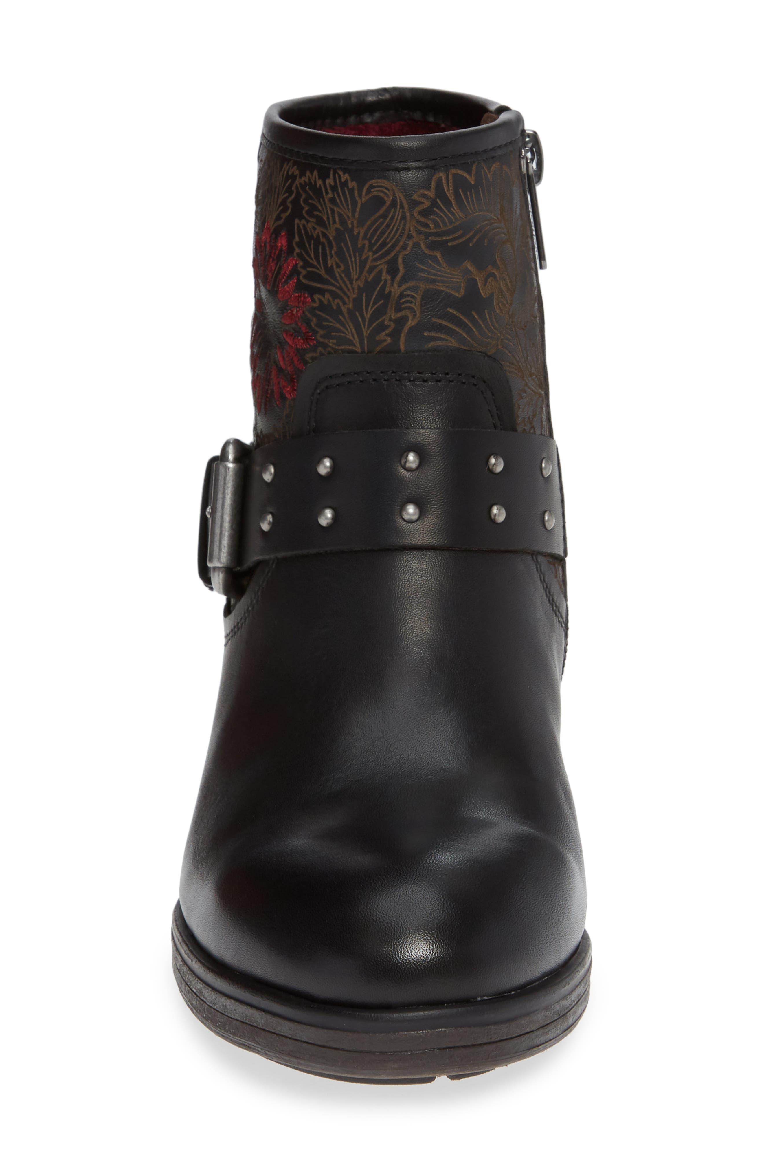 Lyon Embroidered Engineer Bootie,                             Alternate thumbnail 4, color,                             BLACK LEATHER
