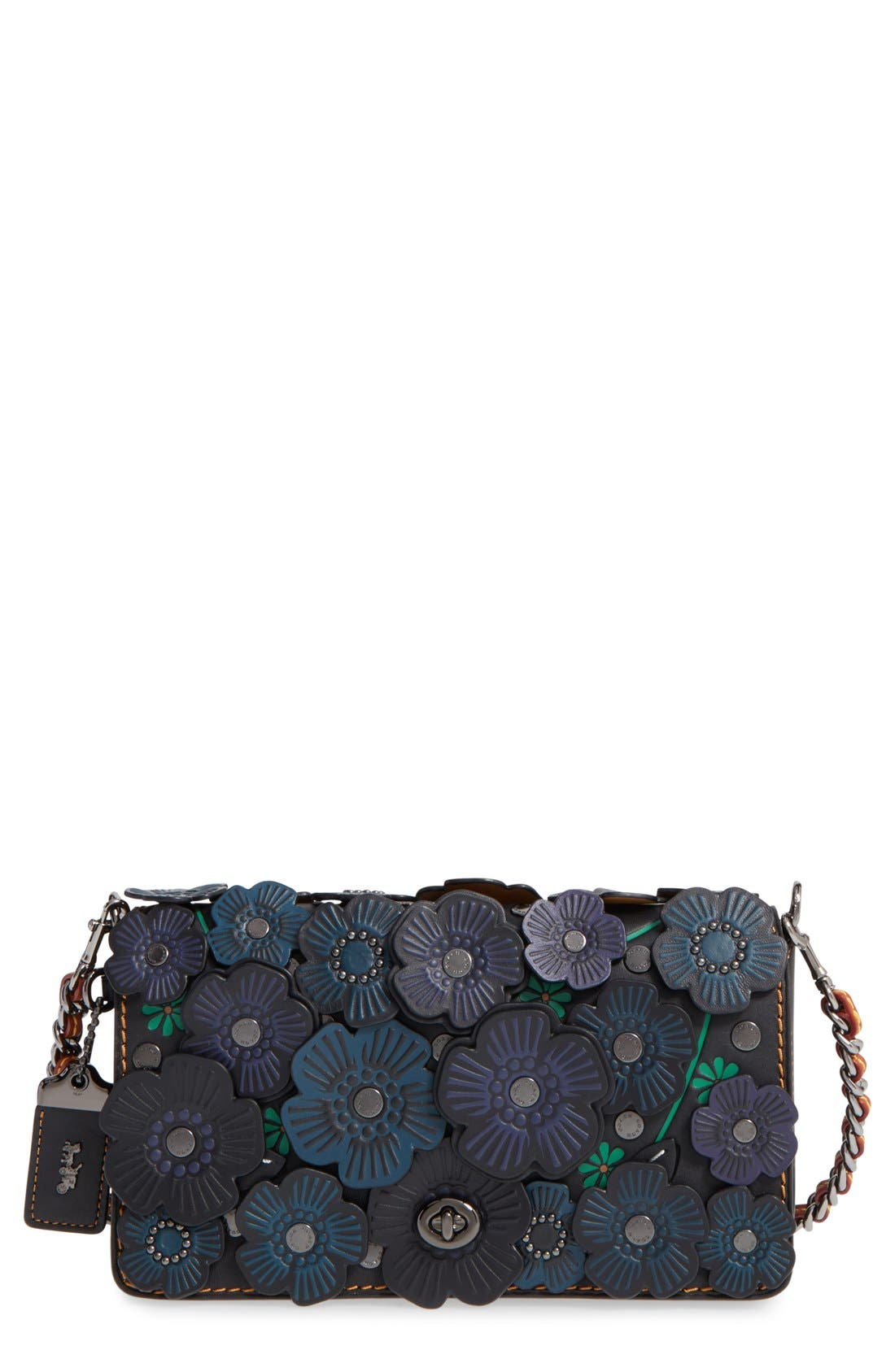 'Dinky' Flower Appliqué Leather Crossbody Bag,                             Main thumbnail 8, color,