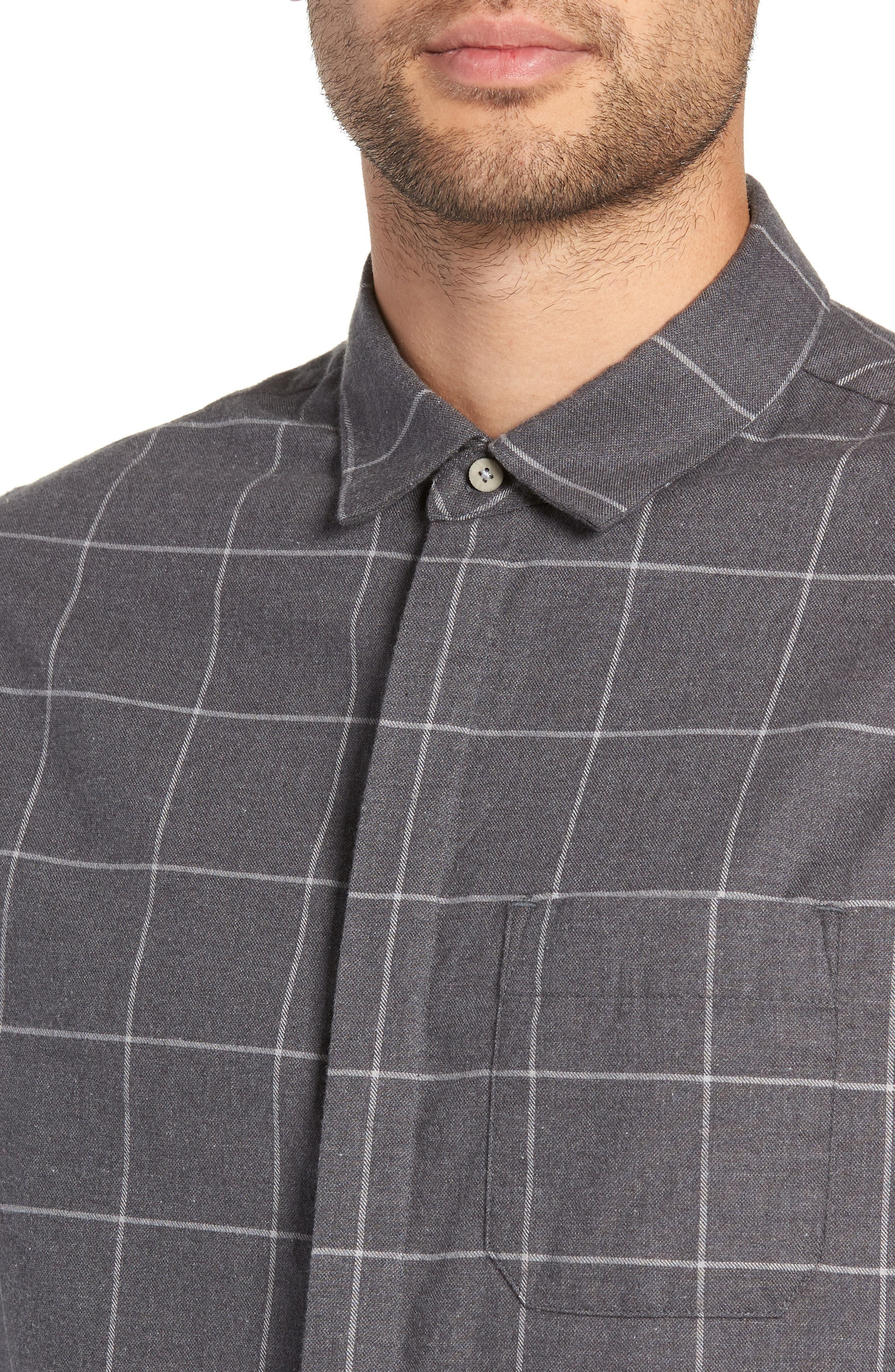 Windowpane Flannel Shirt,                             Alternate thumbnail 2, color,                             GREY