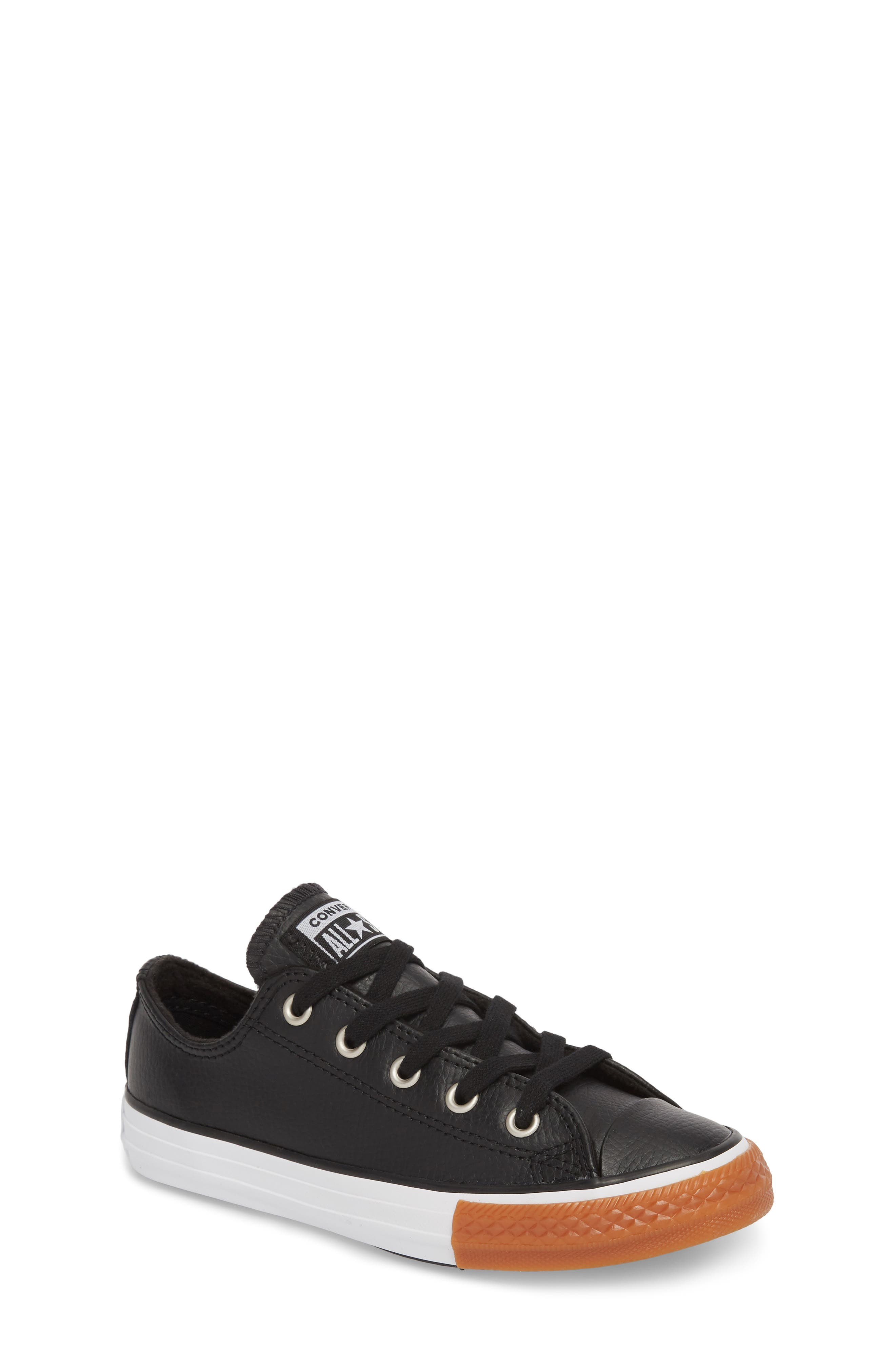Chuck Taylor<sup>®</sup> All Star<sup>®</sup> Ox Faux Leather Sneaker,                         Main,                         color, BLACK