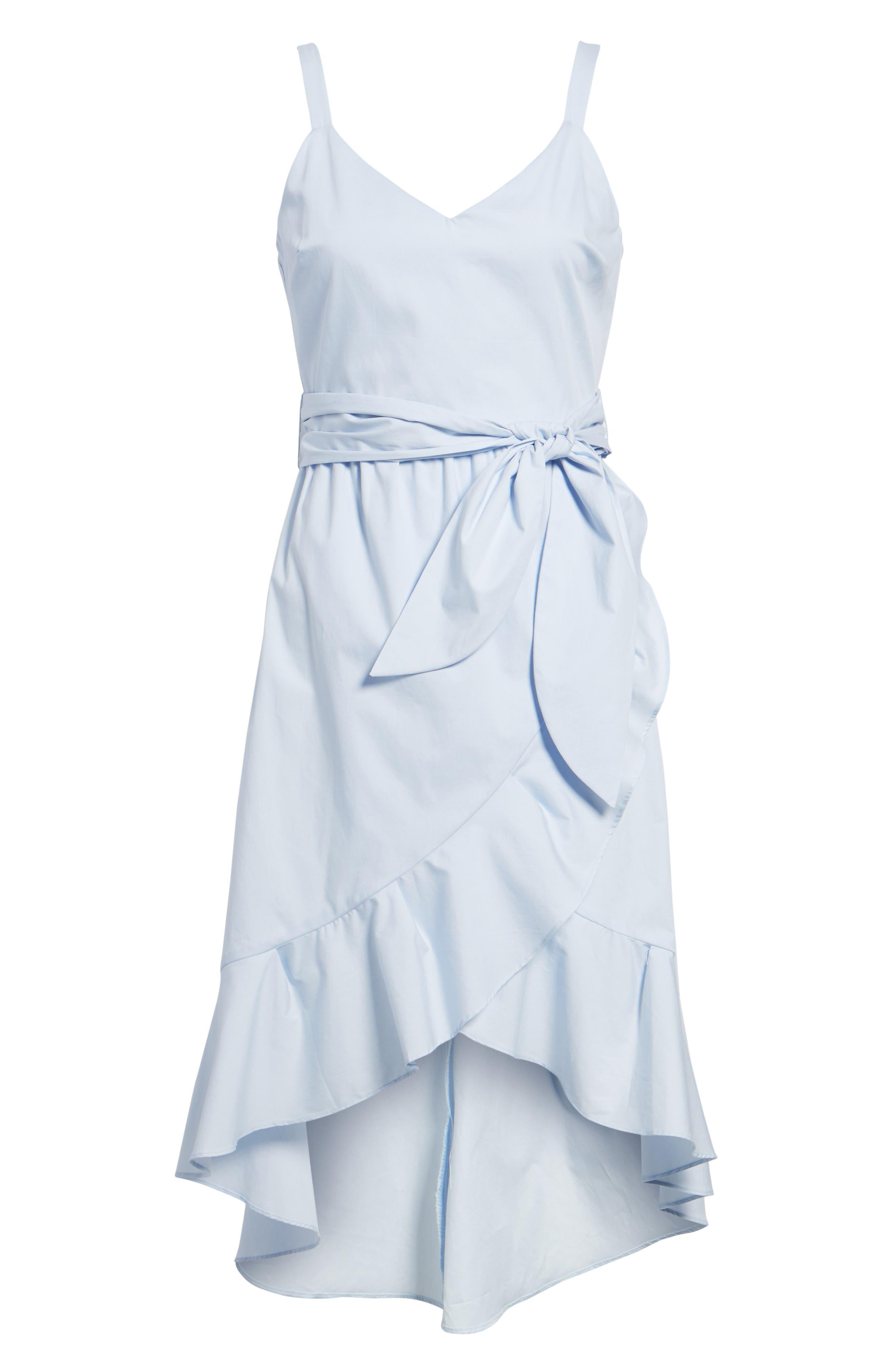Poplin Tie Waist Dress,                             Alternate thumbnail 6, color,                             400