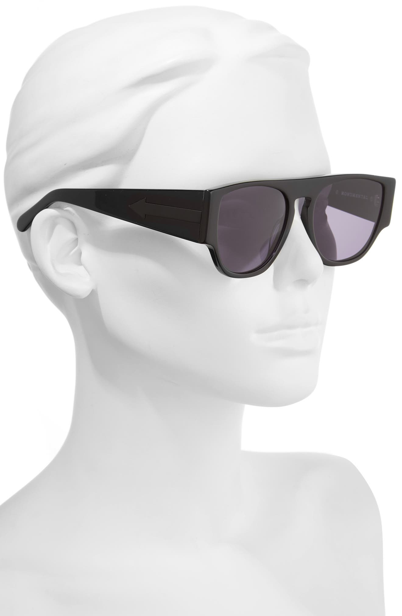 x Monumental Buzz 53mm Sunglasses,                             Alternate thumbnail 2, color,                             BLACK
