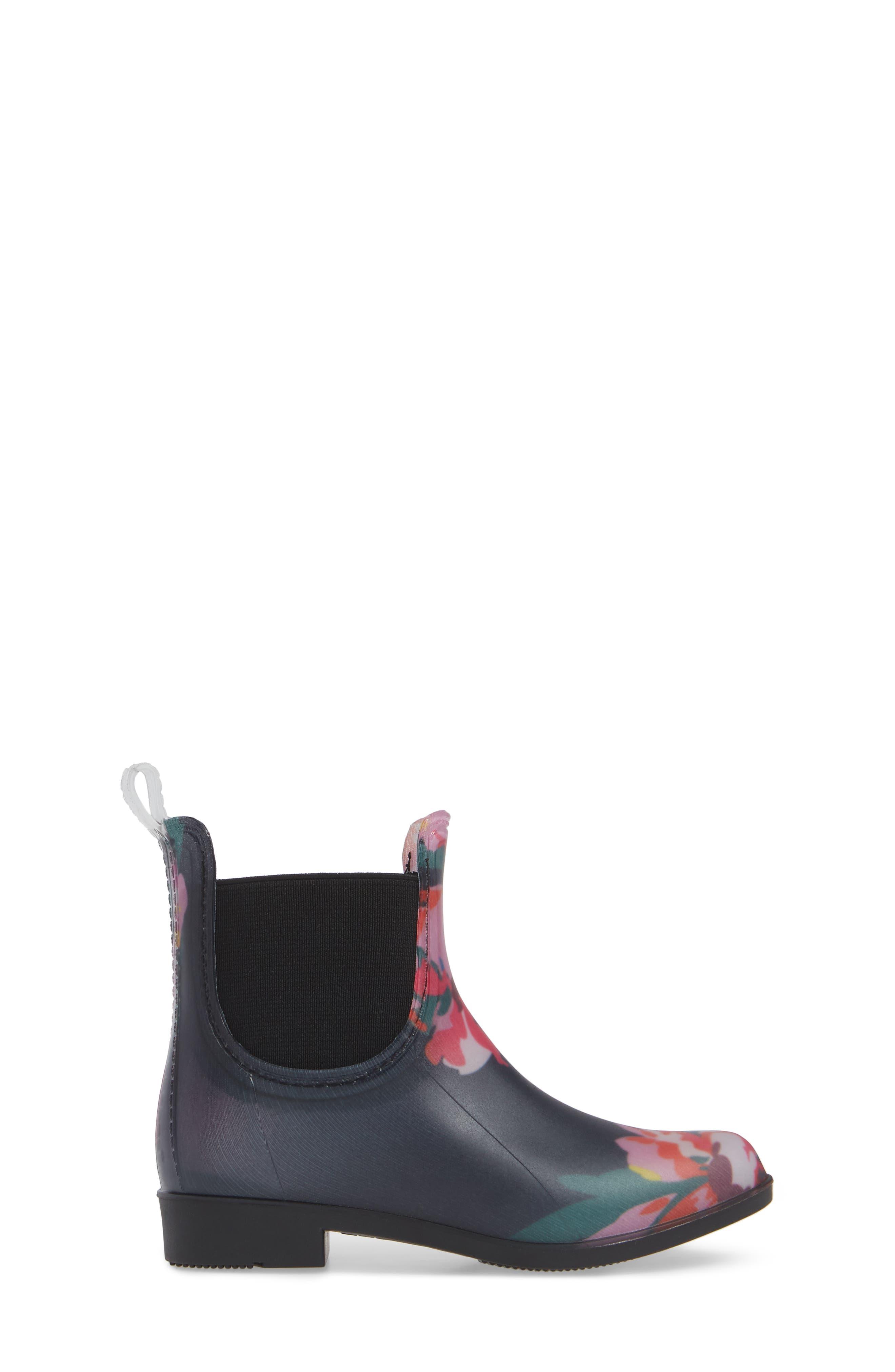 Chelsea Rain Boot,                             Alternate thumbnail 3, color,                             NAVY GRANNY FLORAL
