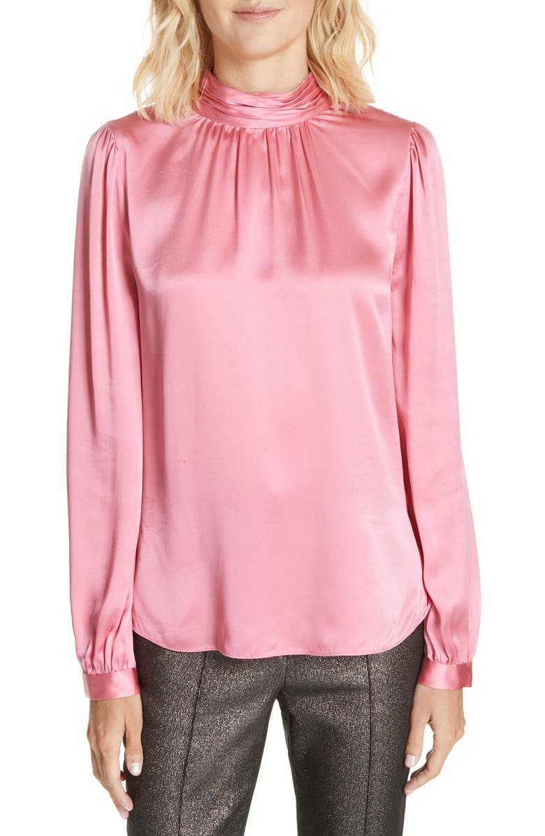 Chilton Bow Back Silk Blouse,                         Main,                         color, PINK
