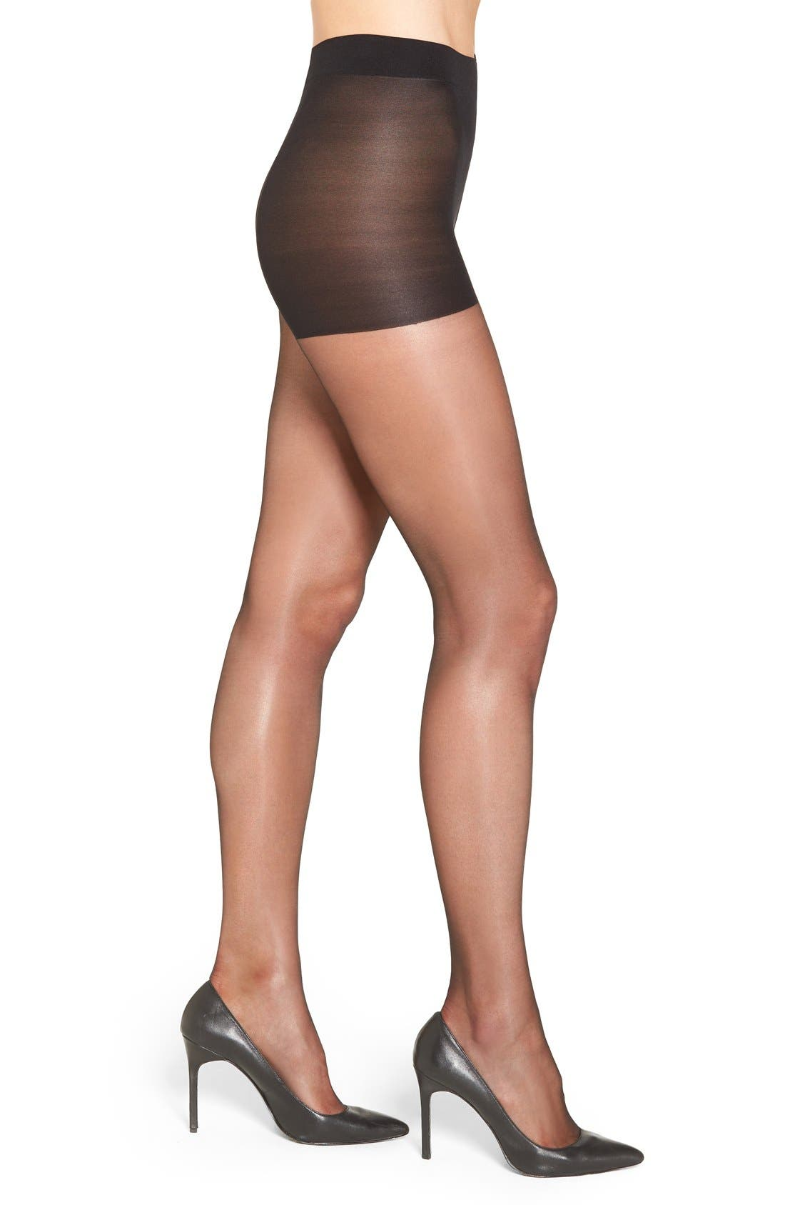 'Gloss' Control Top Pantyhose,                             Main thumbnail 1, color,                             BLACK