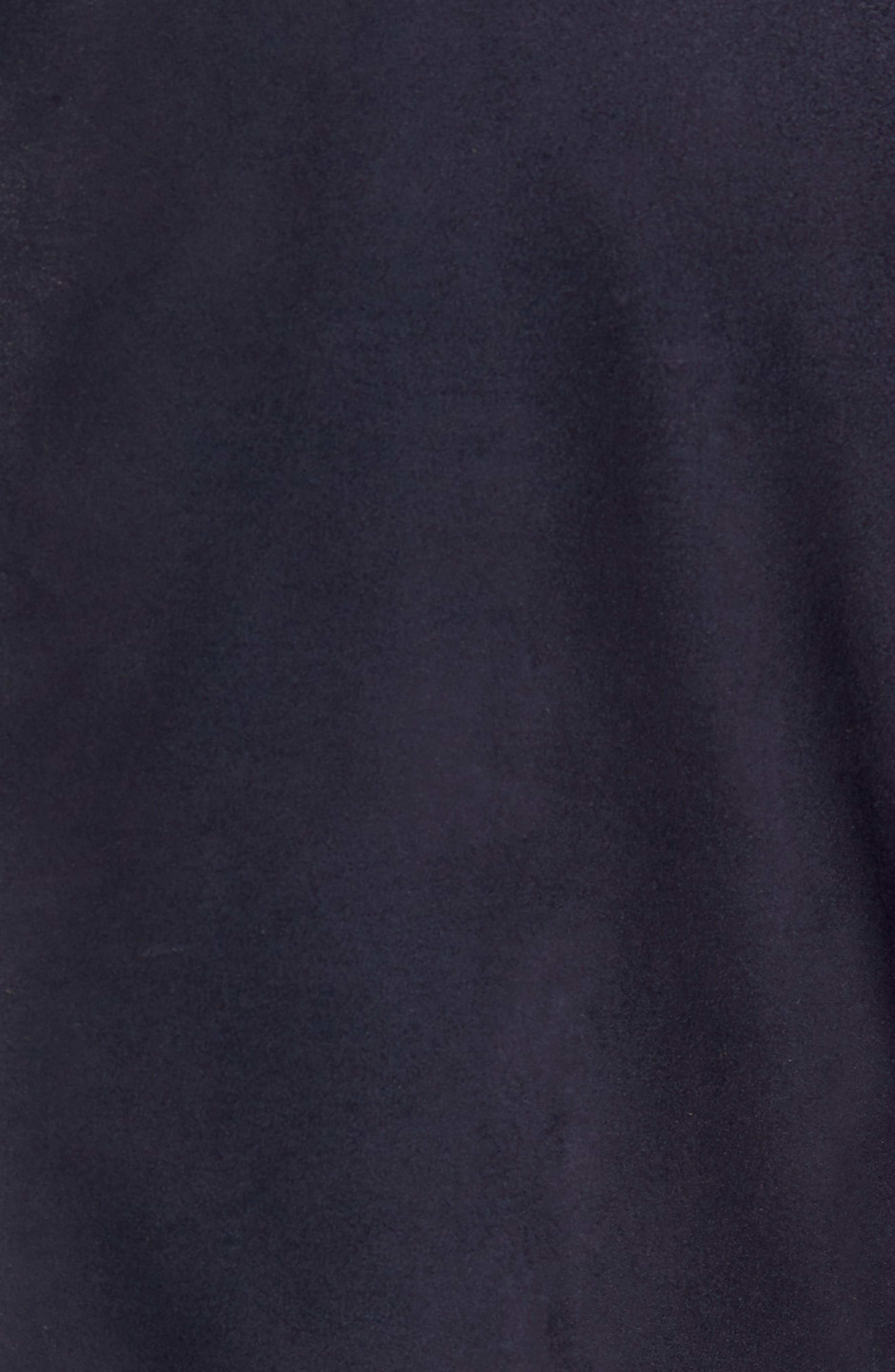 Zip Insert Leather Blazer,                             Alternate thumbnail 6, color,                             NAVY