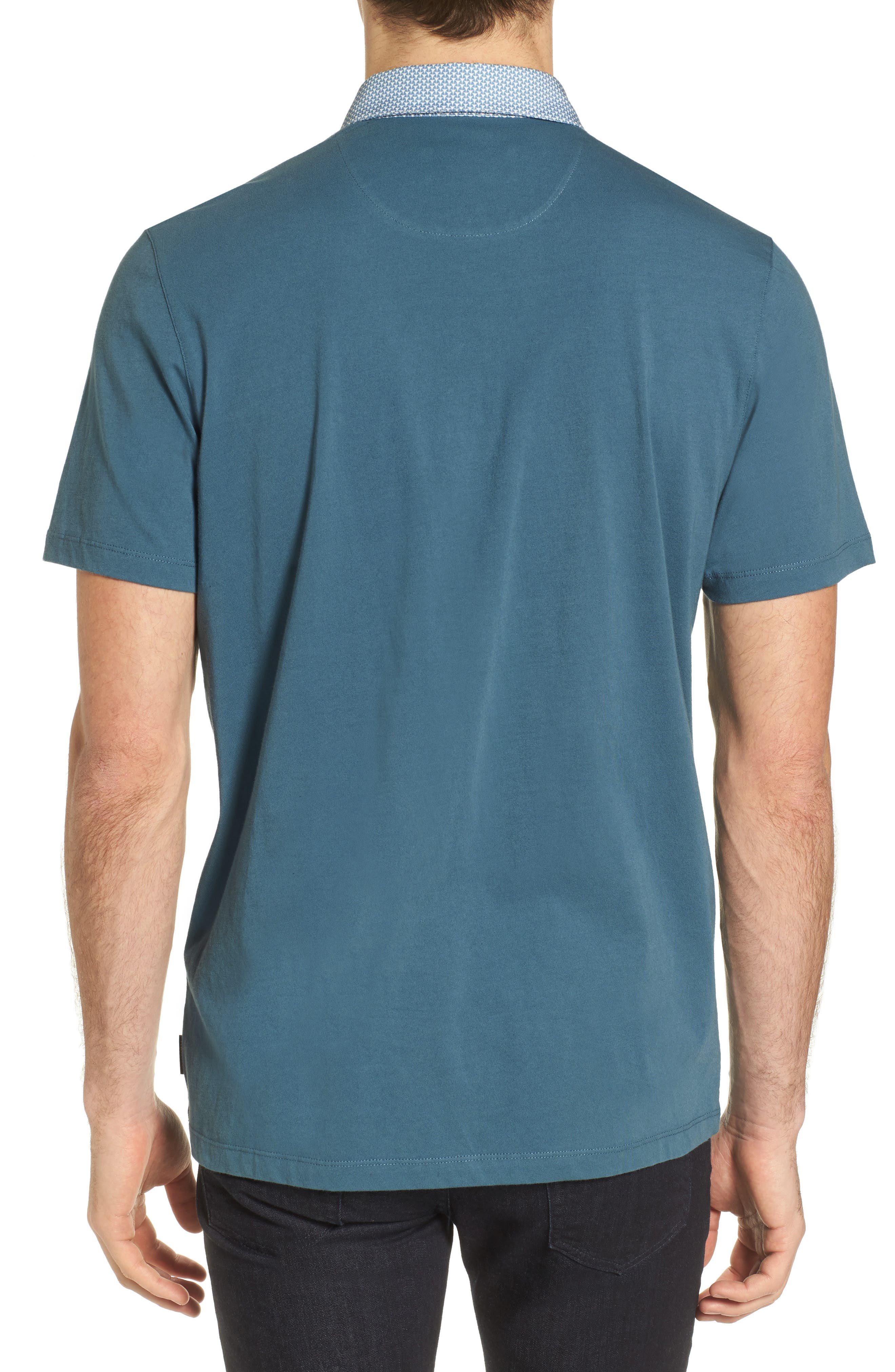 Movey Trim Fit Woven Geo Polo,                             Alternate thumbnail 5, color,