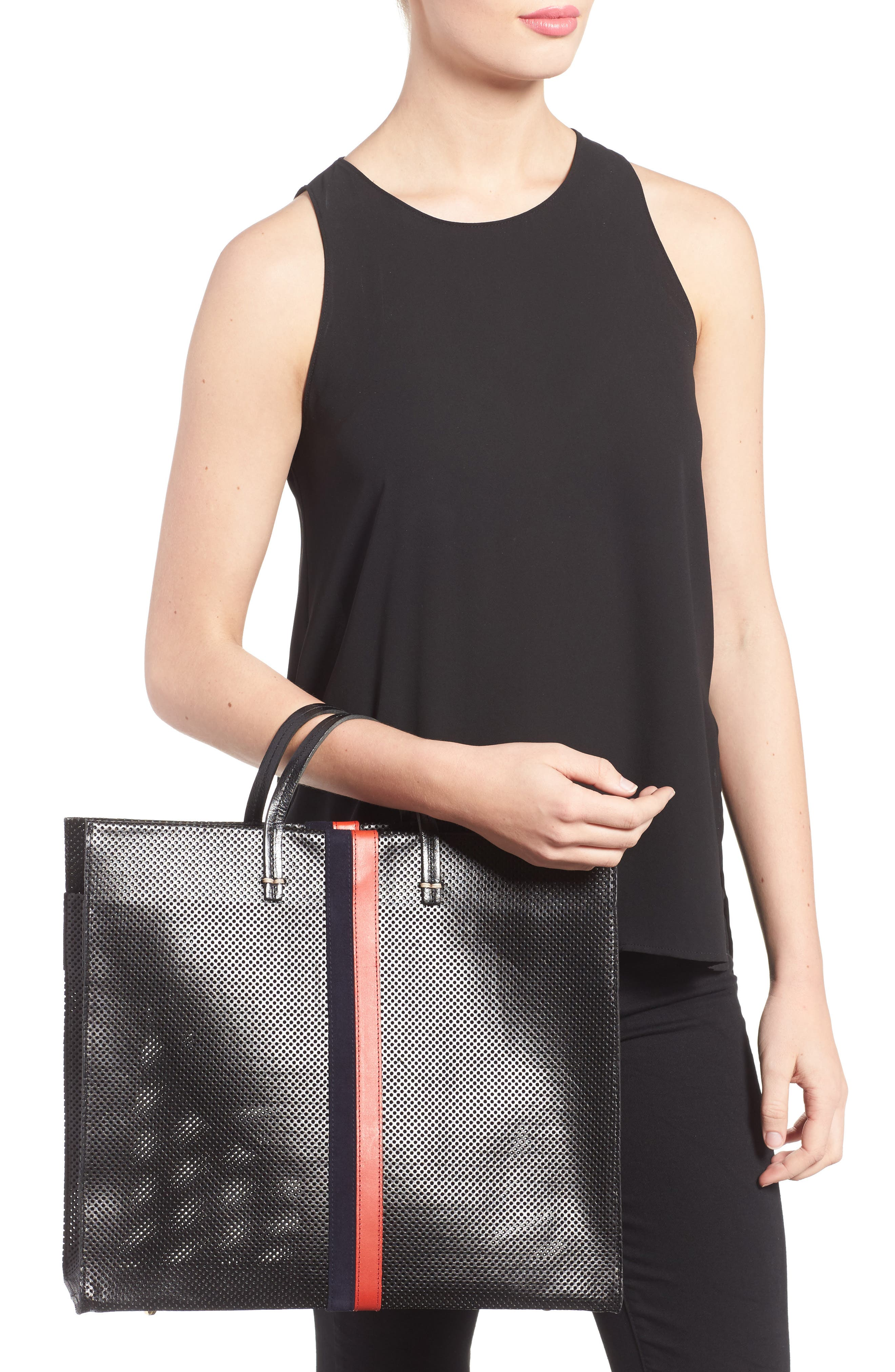 Simple Perforated Leather Tote,                             Alternate thumbnail 2, color,                             001