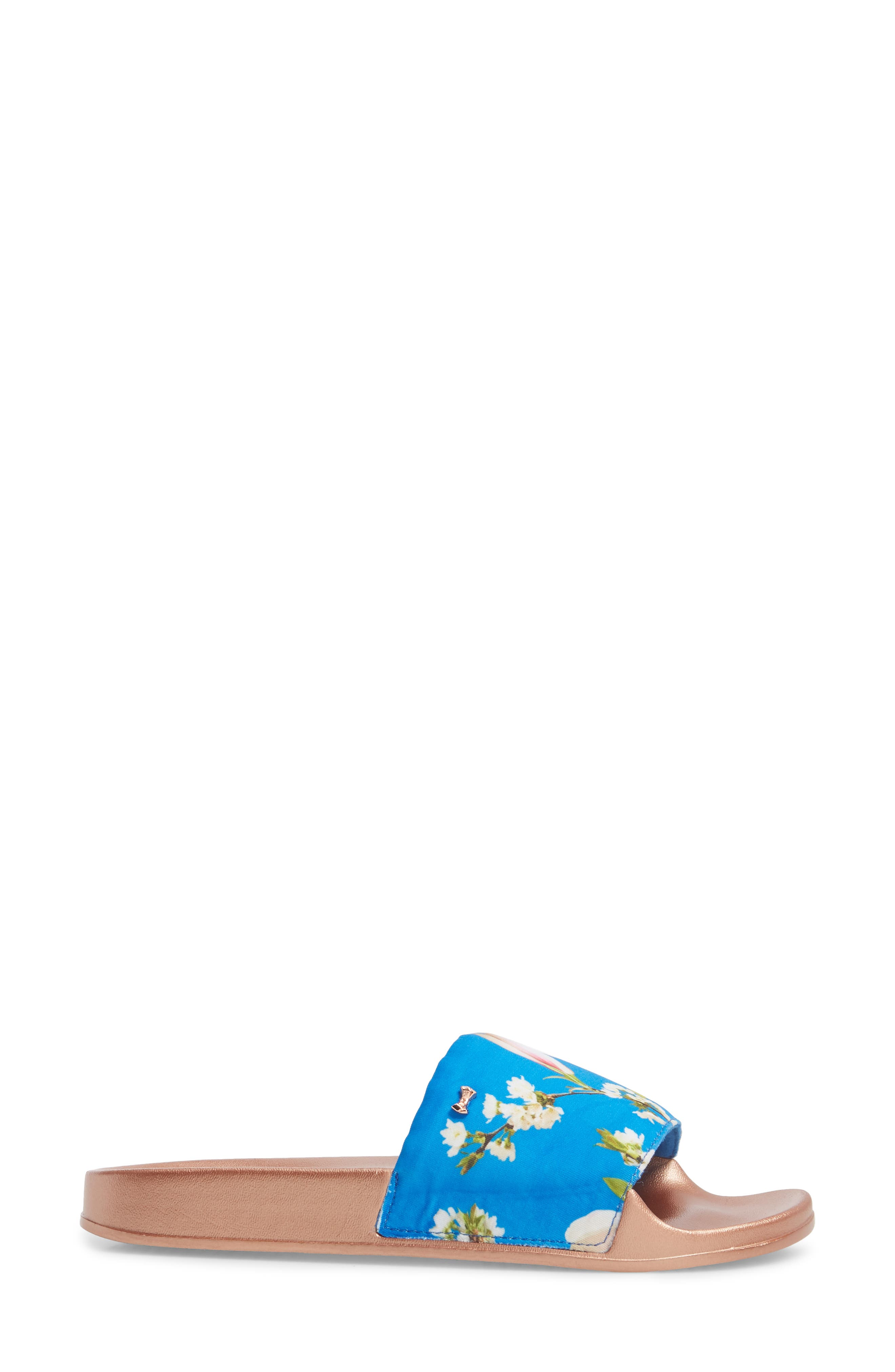 Avelinn Slide Sandal,                             Alternate thumbnail 3, color,                             BLUE FABRIC