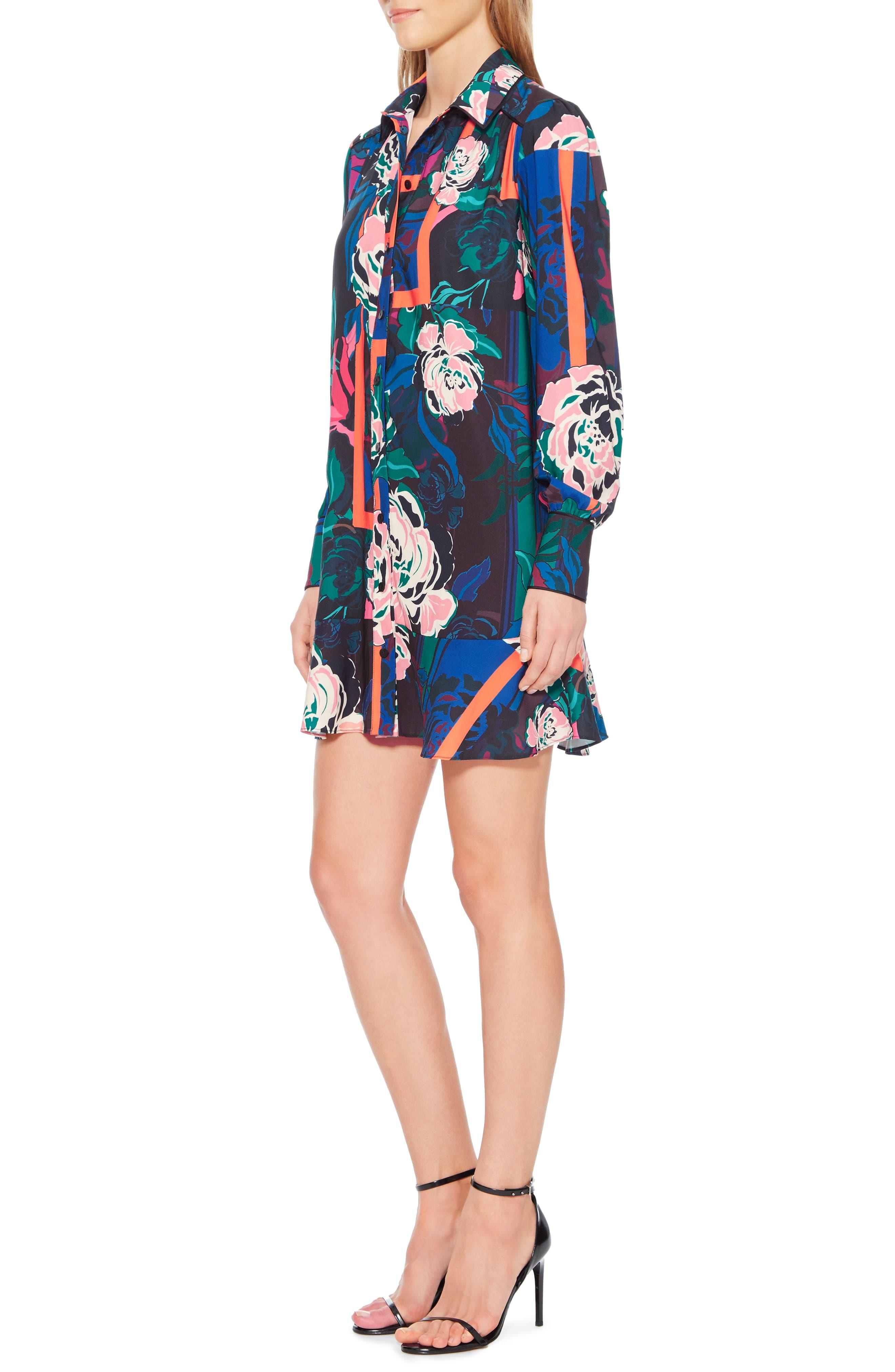 Norma Floral Print Shirtdress,                             Alternate thumbnail 3, color,                             IRVING ROSE