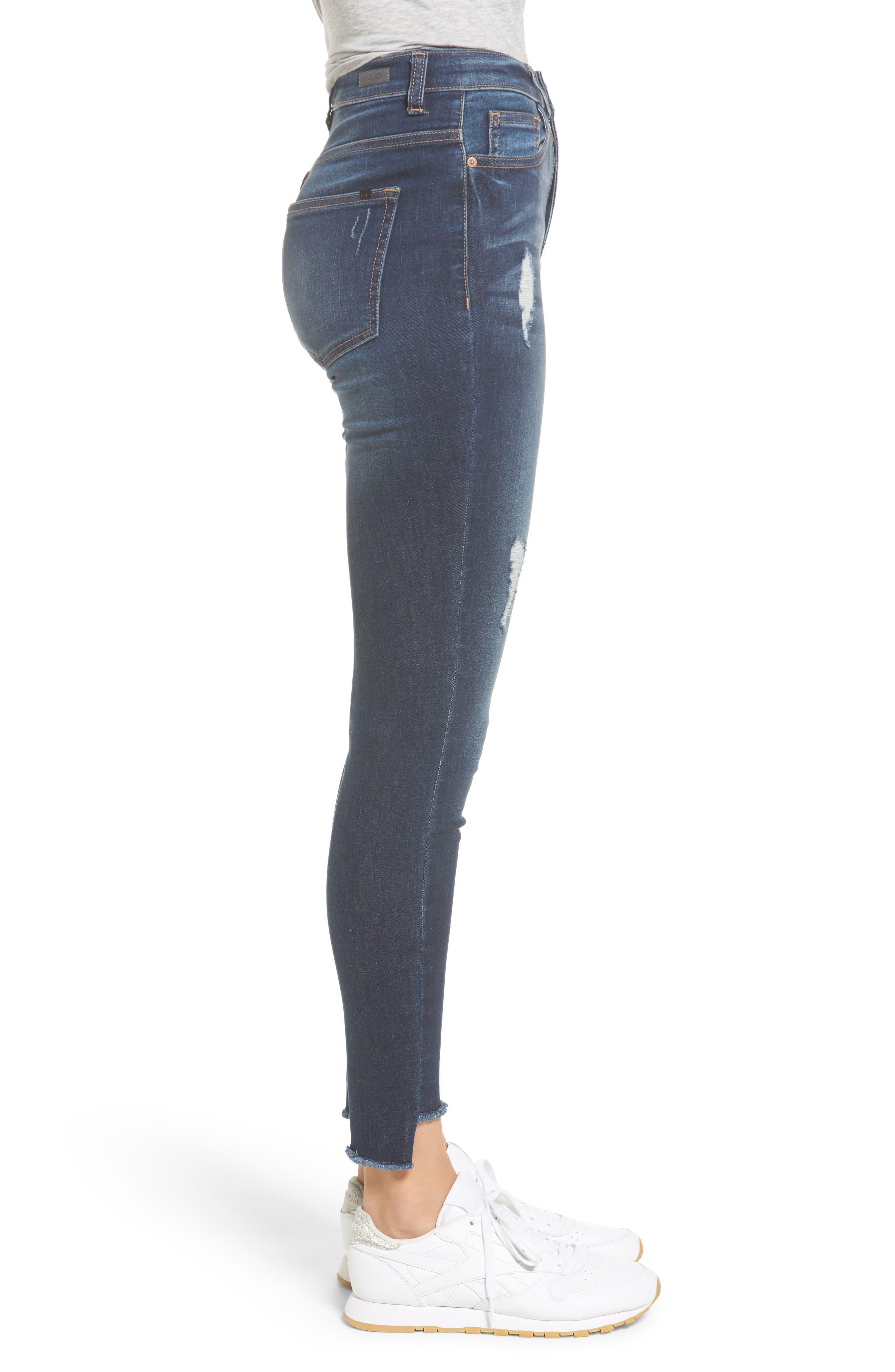 High Waist Step Hem Skinny Jeans,                             Alternate thumbnail 3, color,                             401