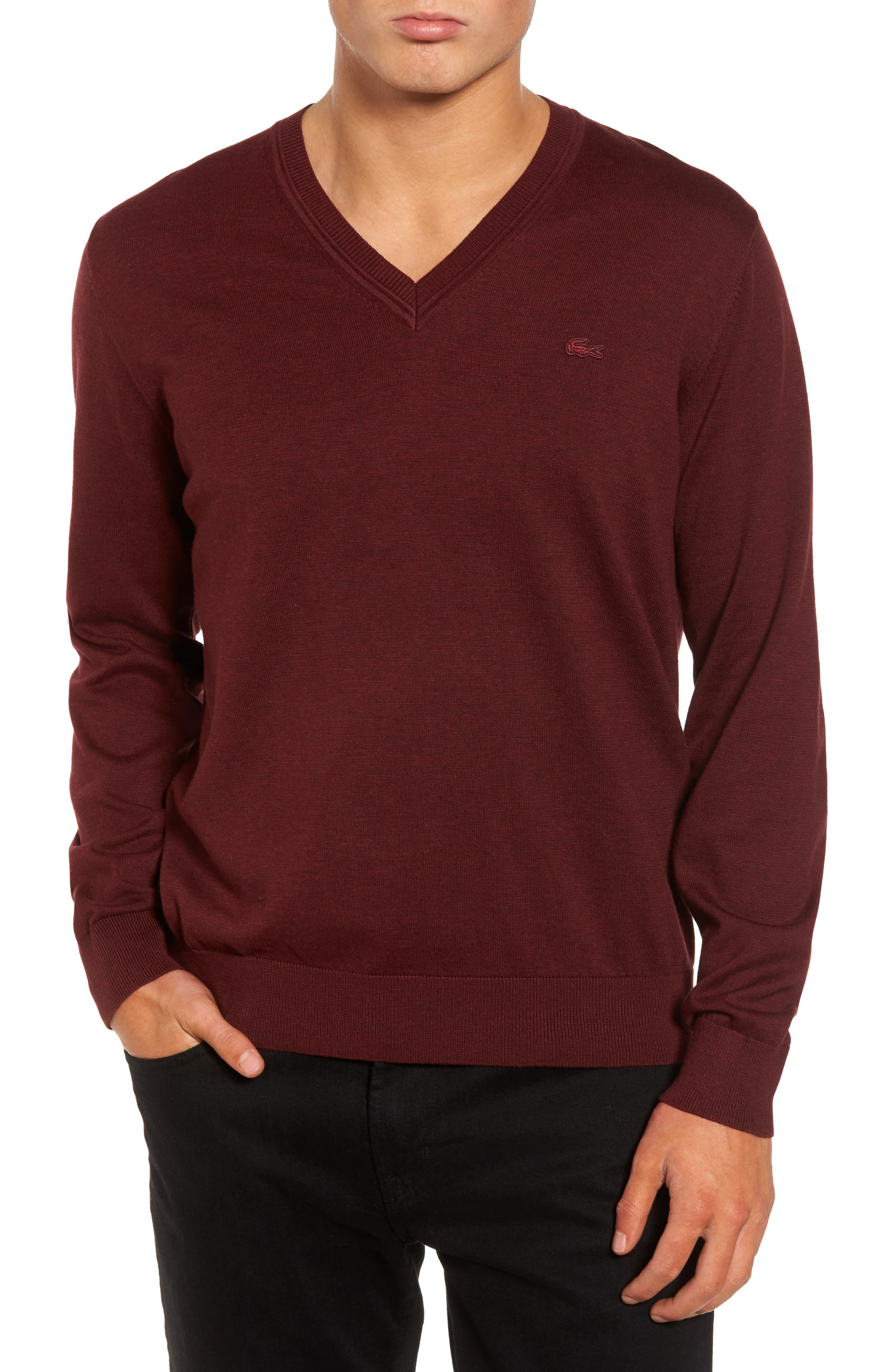 Cotton Jersey V-Neck Sweater,                             Main thumbnail 2, color,