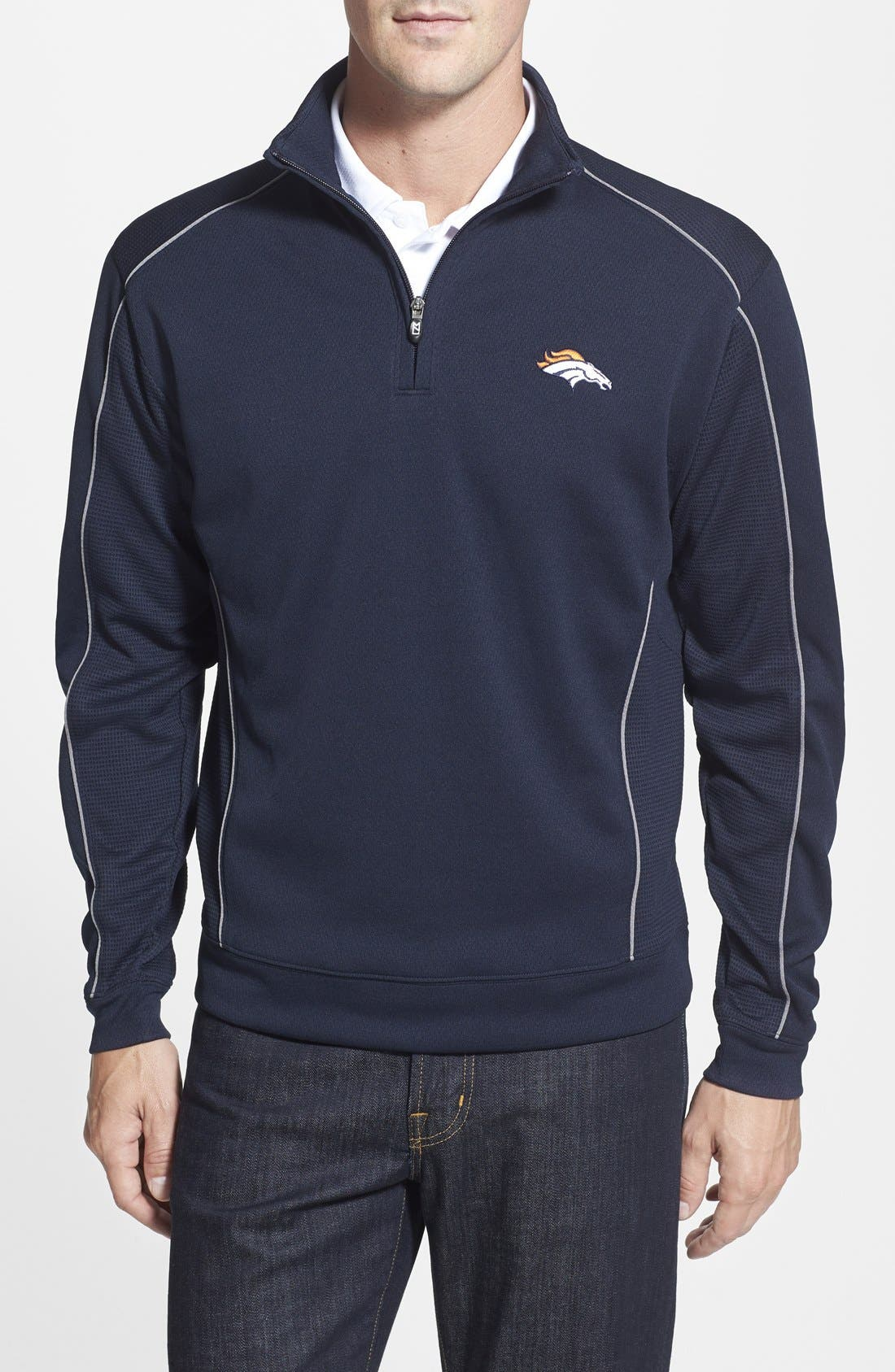 'Denver Broncos - Edge' DryTec Moisture Wicking Half Zip Pullover, Main, color, 420