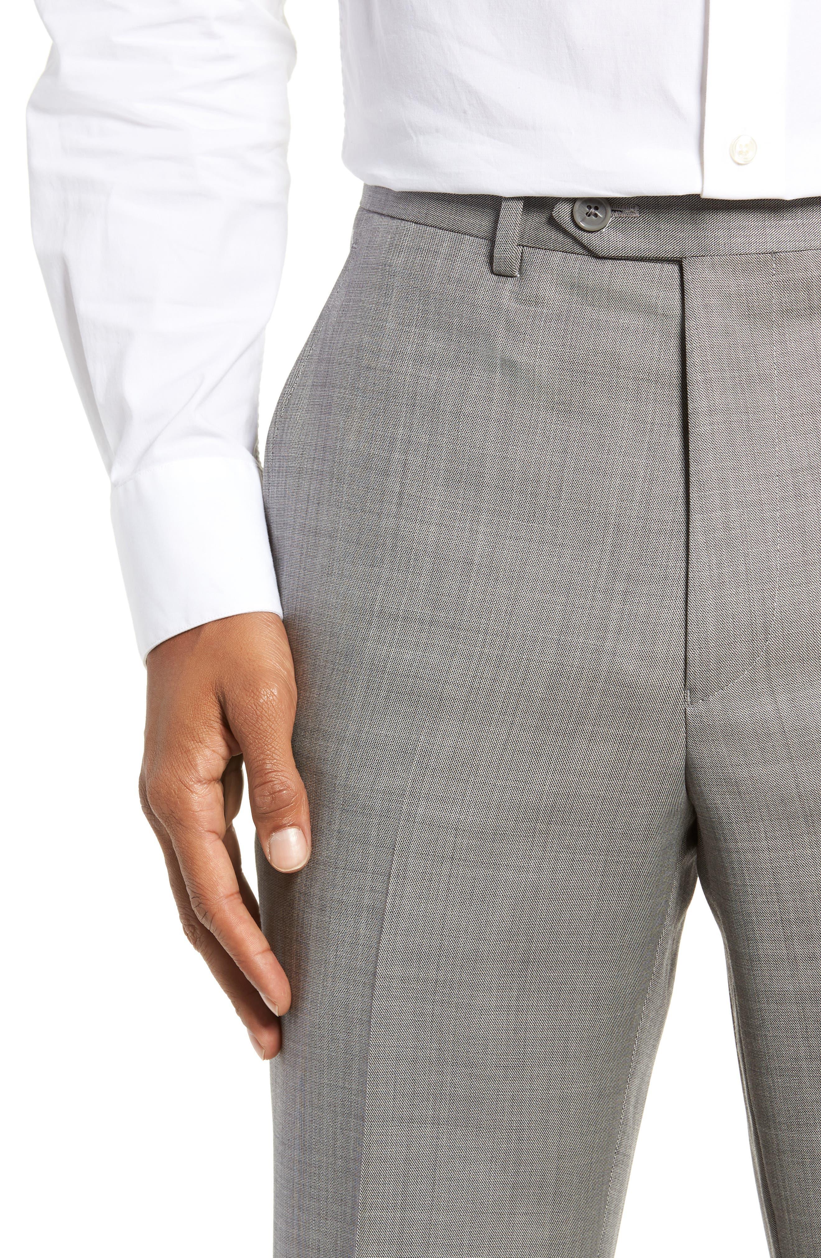 Flat Front Sharkskin Wool Trousers,                             Alternate thumbnail 4, color,                             LIGHT GREY