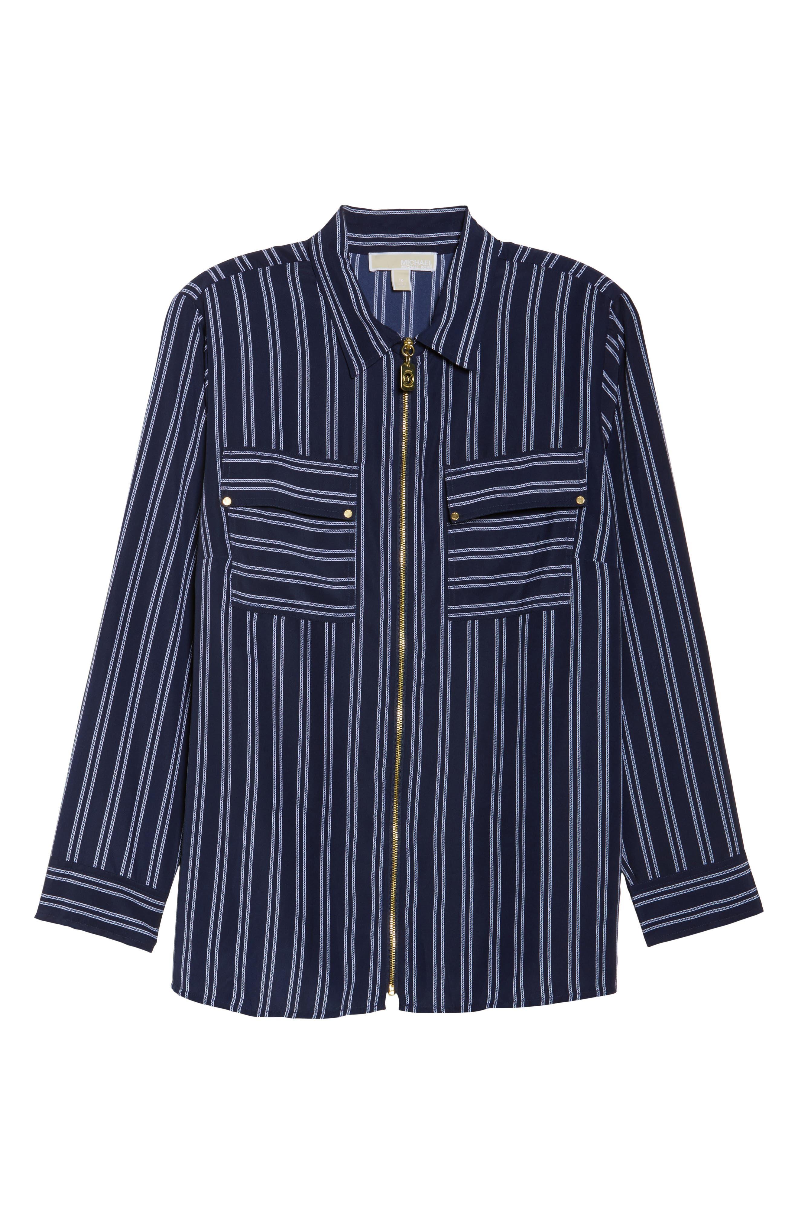 Bengal Stripe Zip Shirt Jacket,                             Alternate thumbnail 6, color,                             456
