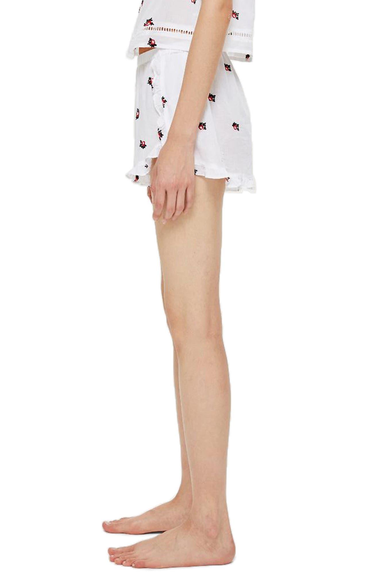 Ruffle Pajama Shorts,                             Alternate thumbnail 3, color,                             WHITE MULTI