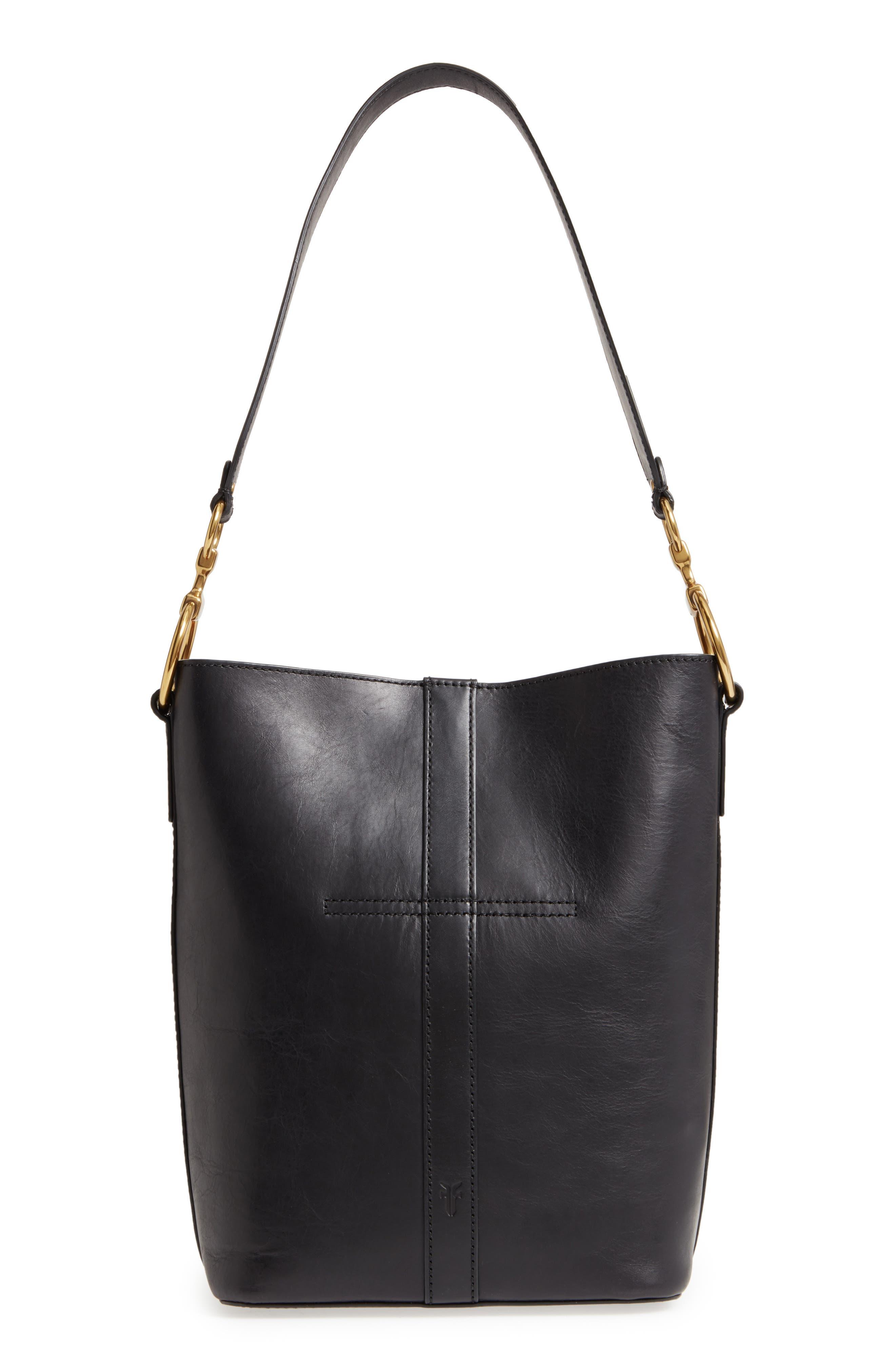 Ilana Harness Leather Bucket Hobo,                             Alternate thumbnail 3, color,                             001