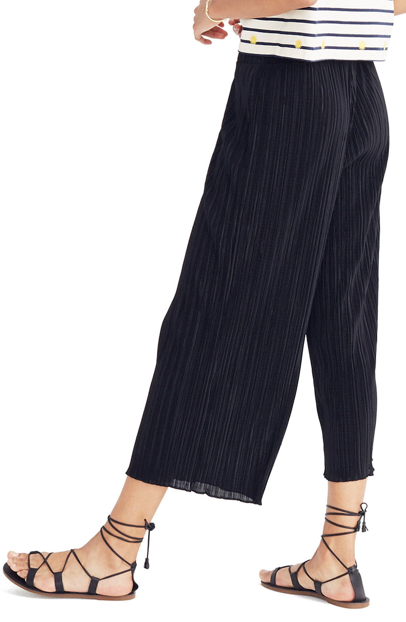 Texture & Thread Micropleat Wide Leg Pants,                             Alternate thumbnail 2, color,                             001