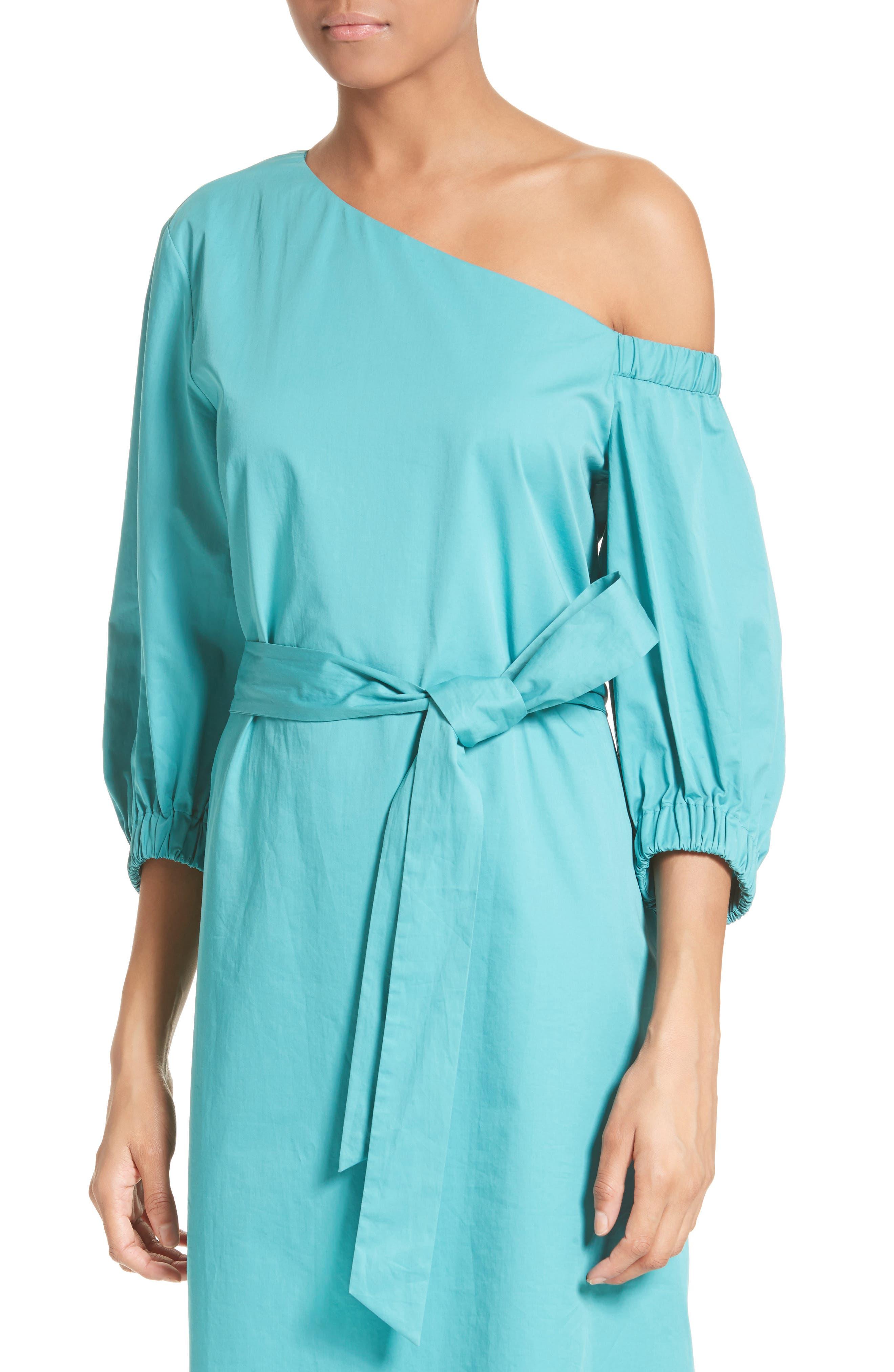 Cotton One-Shoulder Dress,                             Alternate thumbnail 4, color,