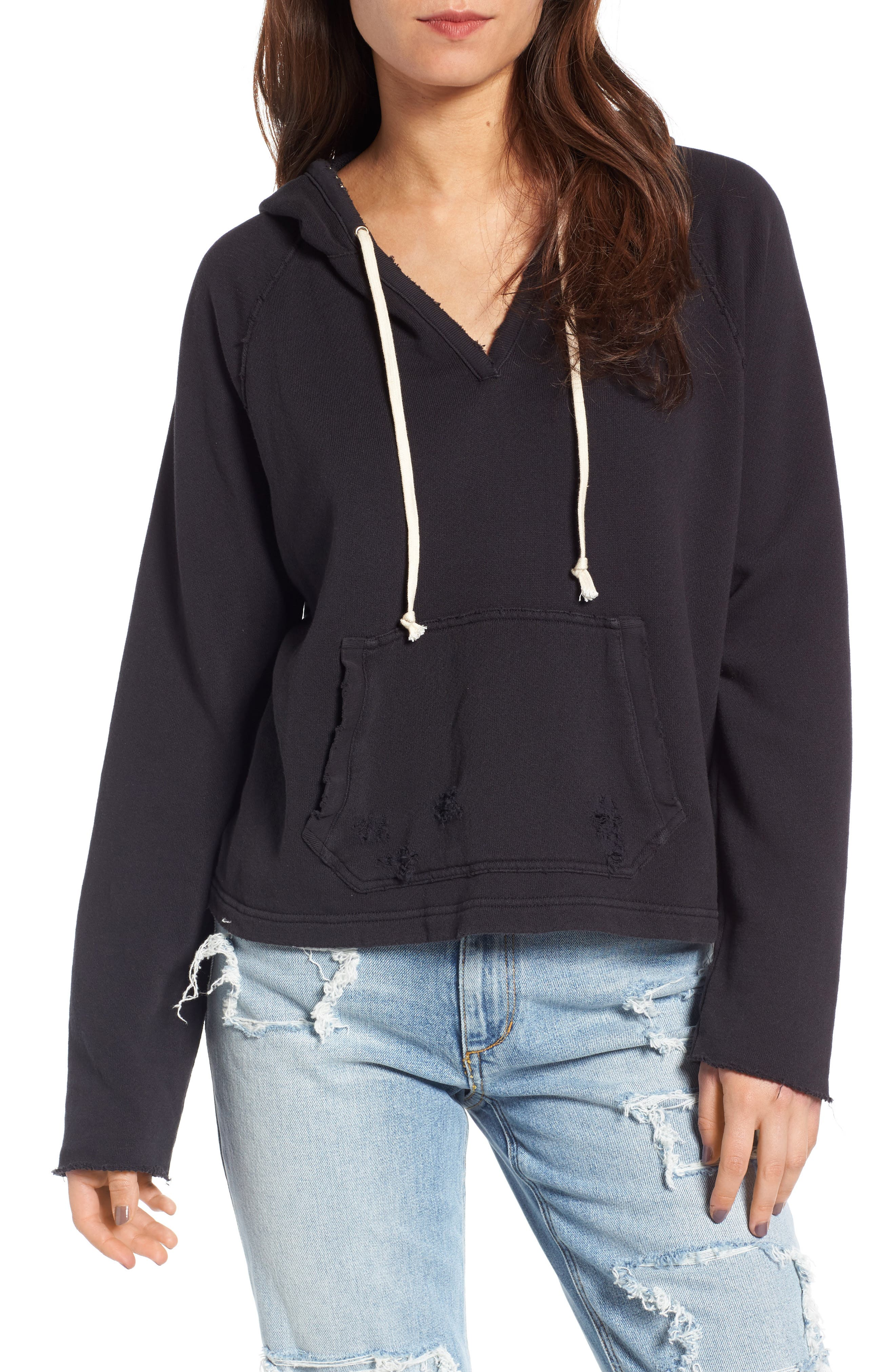 Rowen Distressed Hoodie,                             Main thumbnail 1, color,                             001