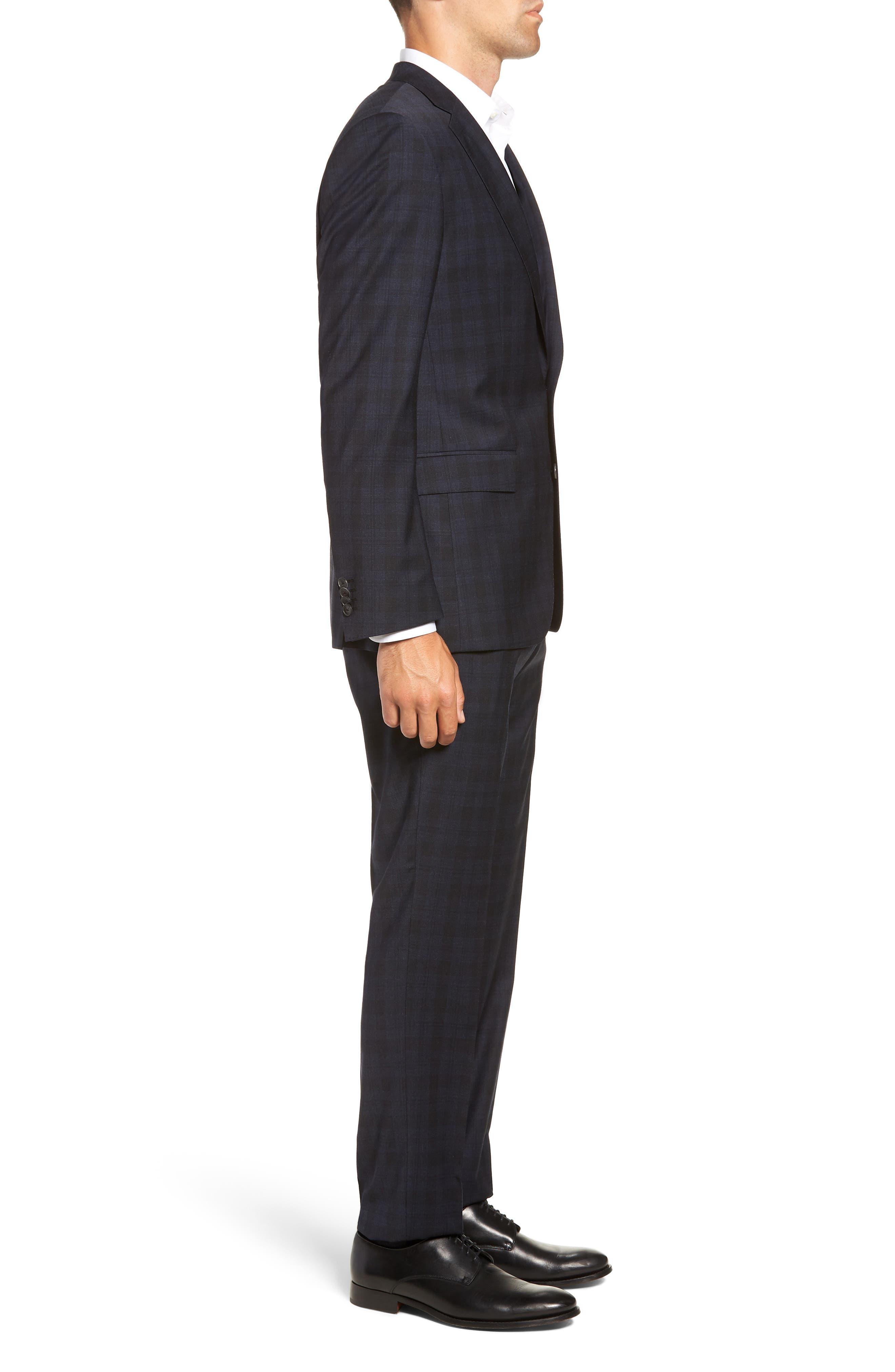 Huge/Genius Trim Fit Stretch Plaid Wool Suit,                             Alternate thumbnail 3, color,                             BLUE