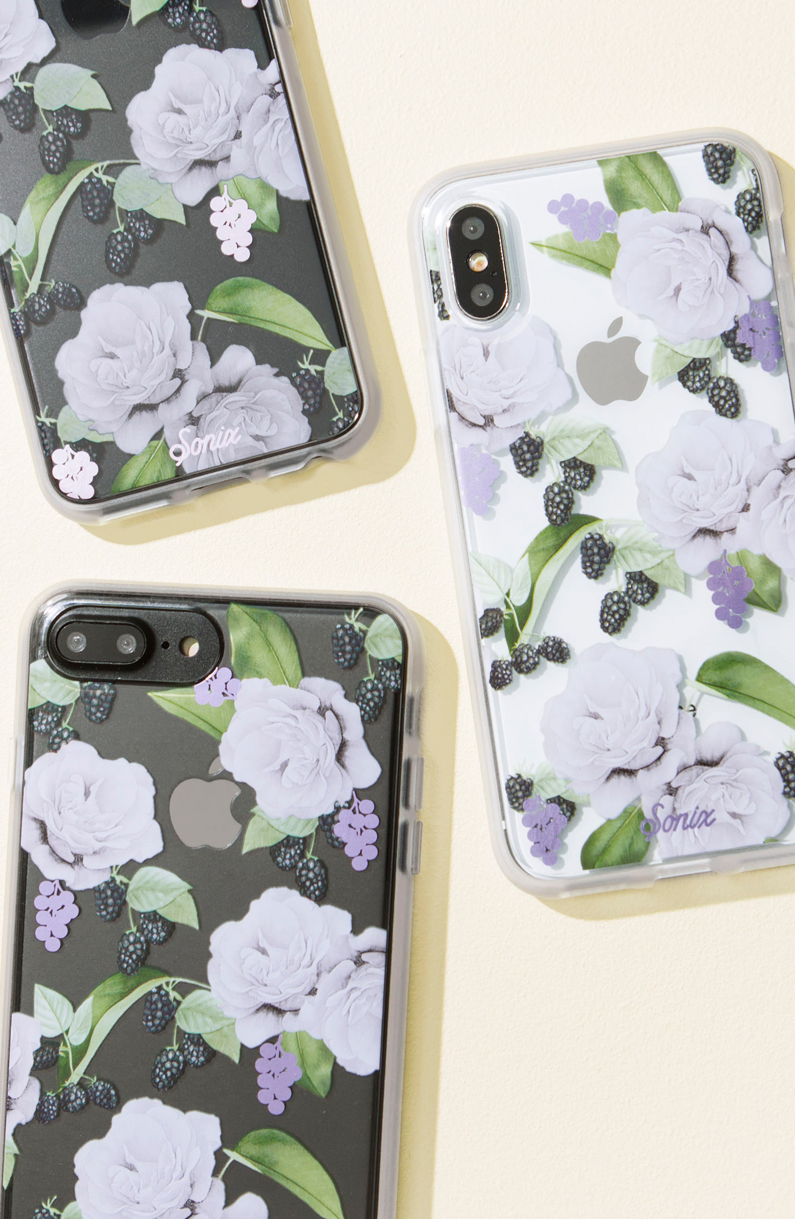 Floral Berry iPhone 6/6s/7/8 & 6/6s/7/8 Plus Case,                             Alternate thumbnail 3, color,                             WHITE/ LILAC