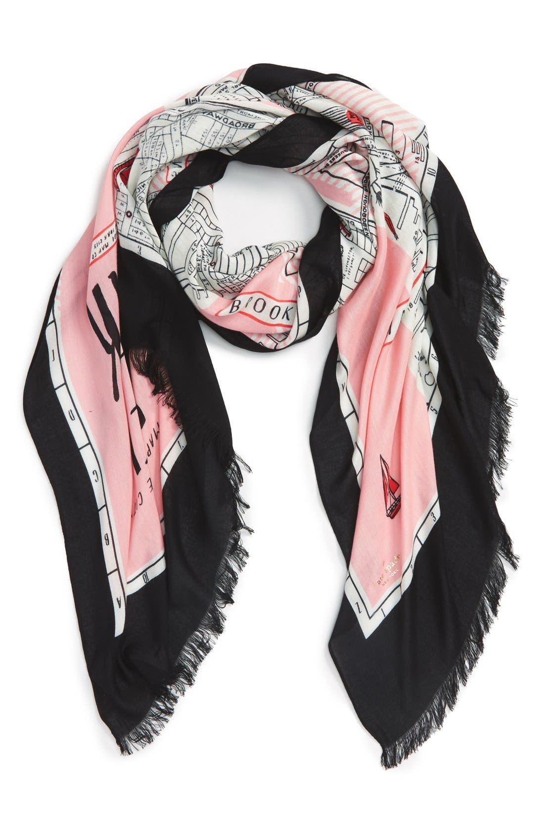 new york map print scarf,                         Main,                         color, PINK SORBET