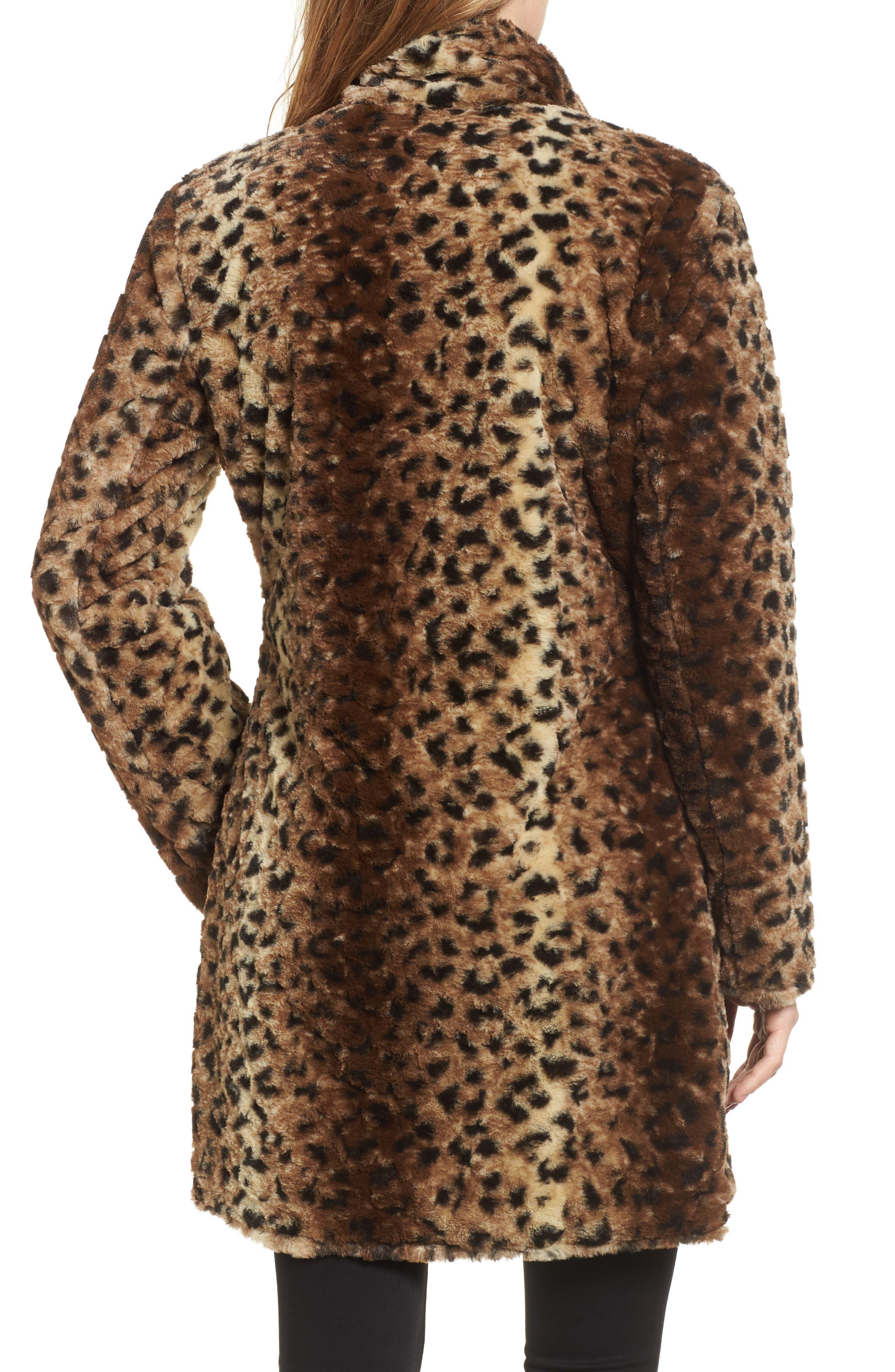 Reversible Faux Leopard Fur Coat,                             Alternate thumbnail 4, color,