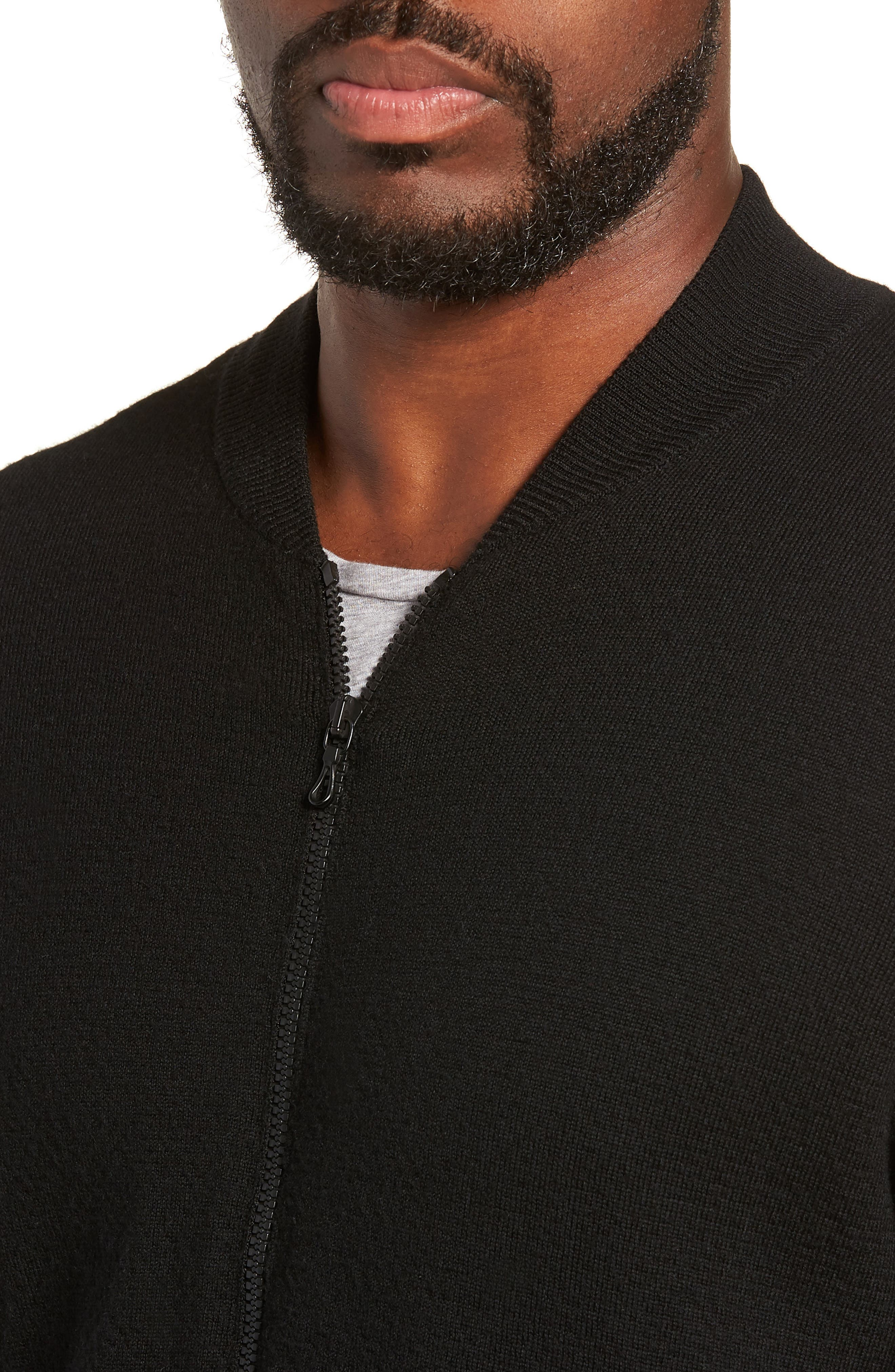 Orwell Slim Fit Wool Bomber Jacket,                             Alternate thumbnail 4, color,                             BLACK/ BLACK