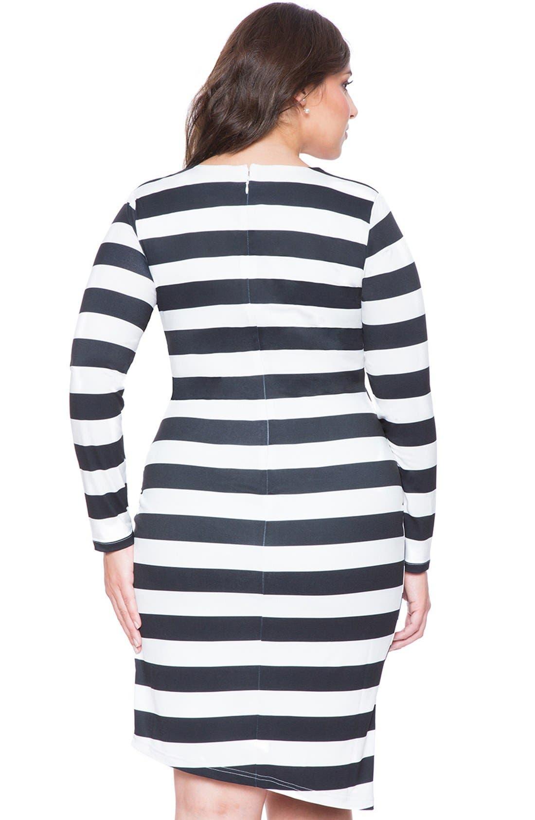 ELOQUII,                             Stripe Asymmetrical Wrap Dress,                             Alternate thumbnail 2, color,                             005