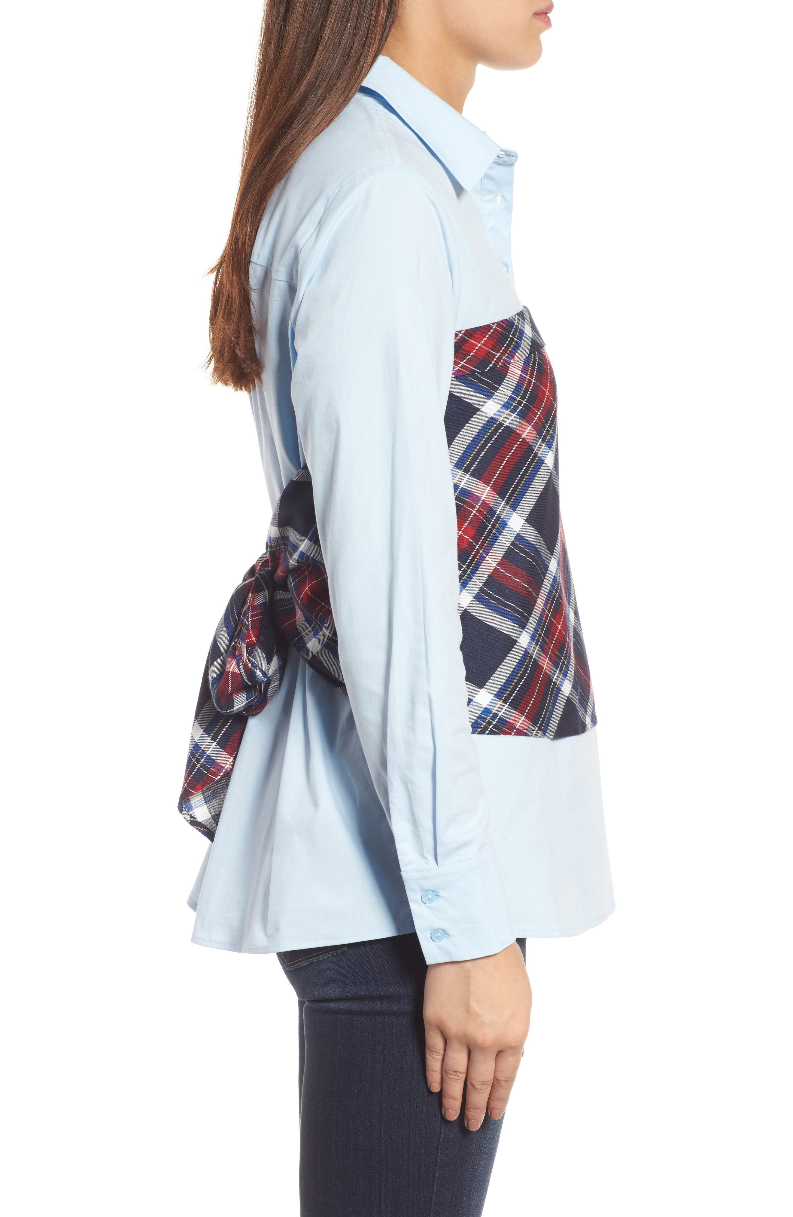 Plaid Corset Shirt,                             Alternate thumbnail 8, color,