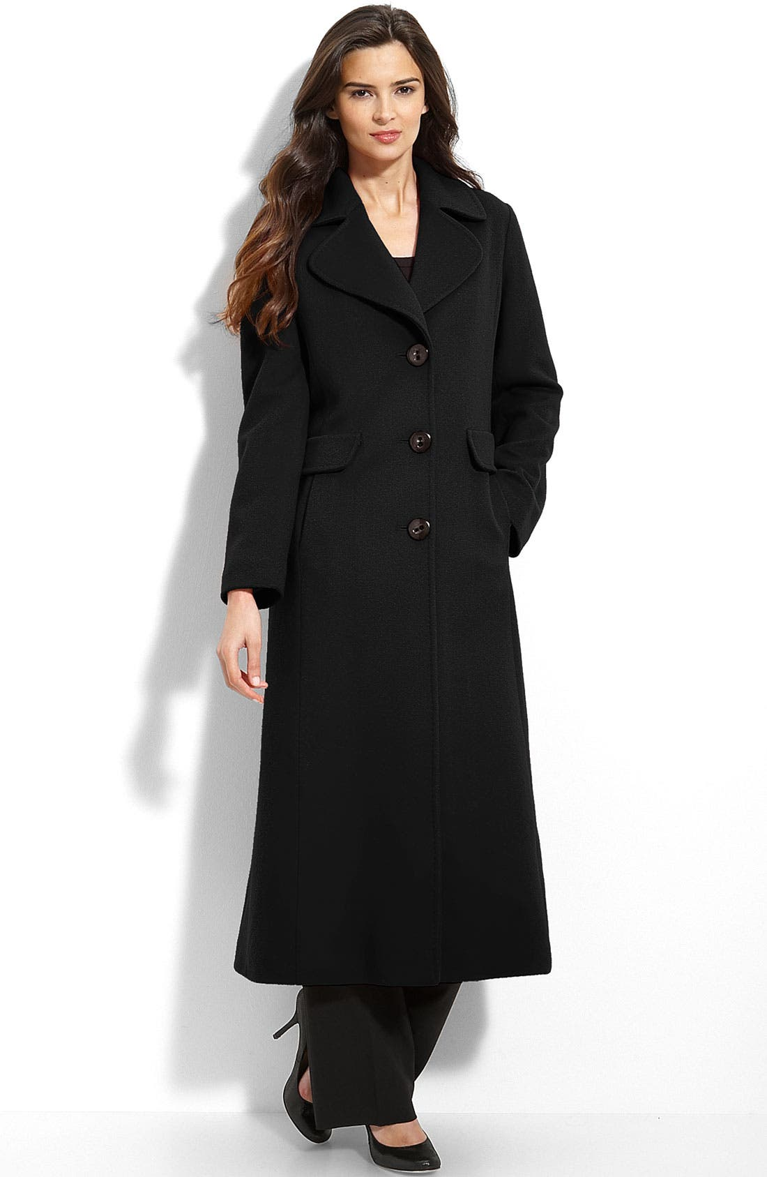FLEURETTE,                             Loro Piana Wool Coat,                             Main thumbnail 1, color,                             001