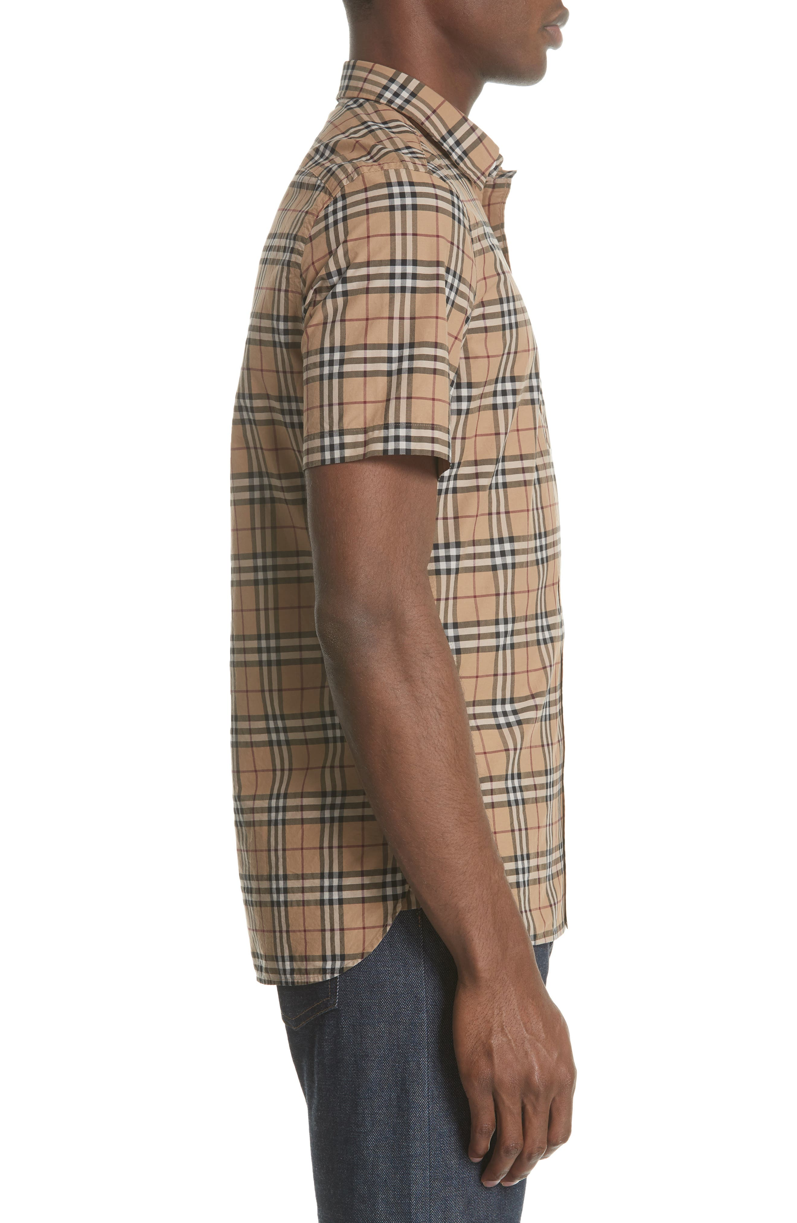 Alexander Check Sport Shirt,                             Alternate thumbnail 3, color,                             CAMEL