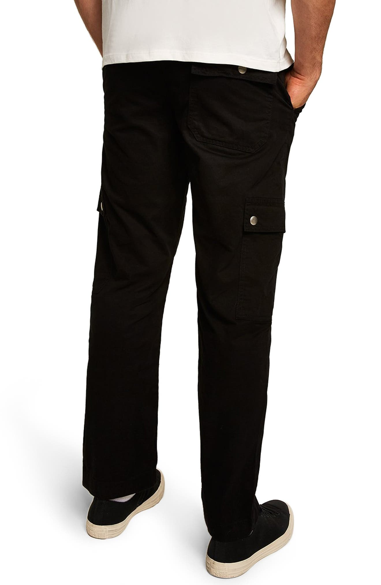 Straight Fit Cargo Trousers,                             Alternate thumbnail 2, color,                             BLACK