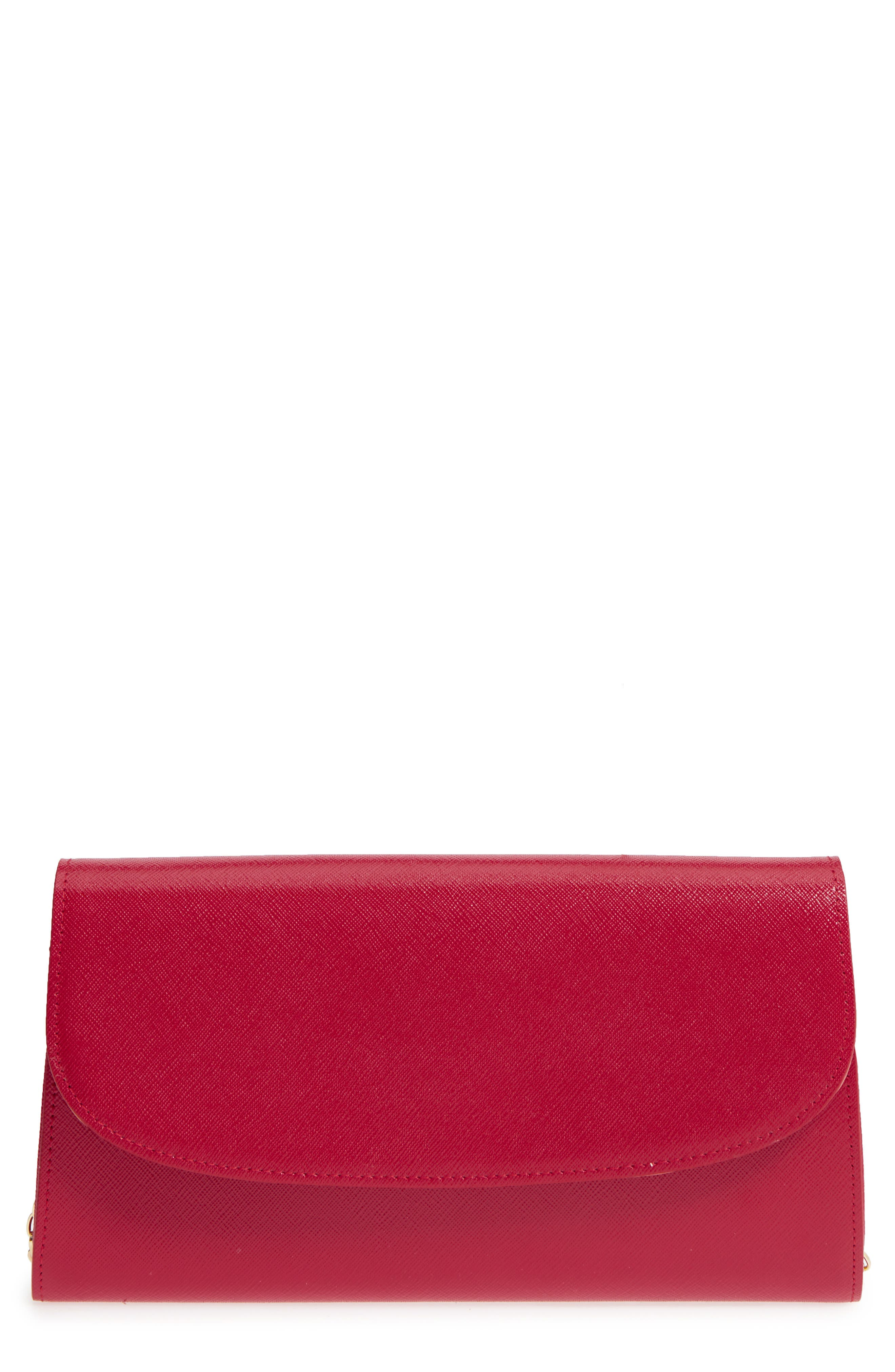 Leather Clutch,                         Main,                         color, RED JESTER