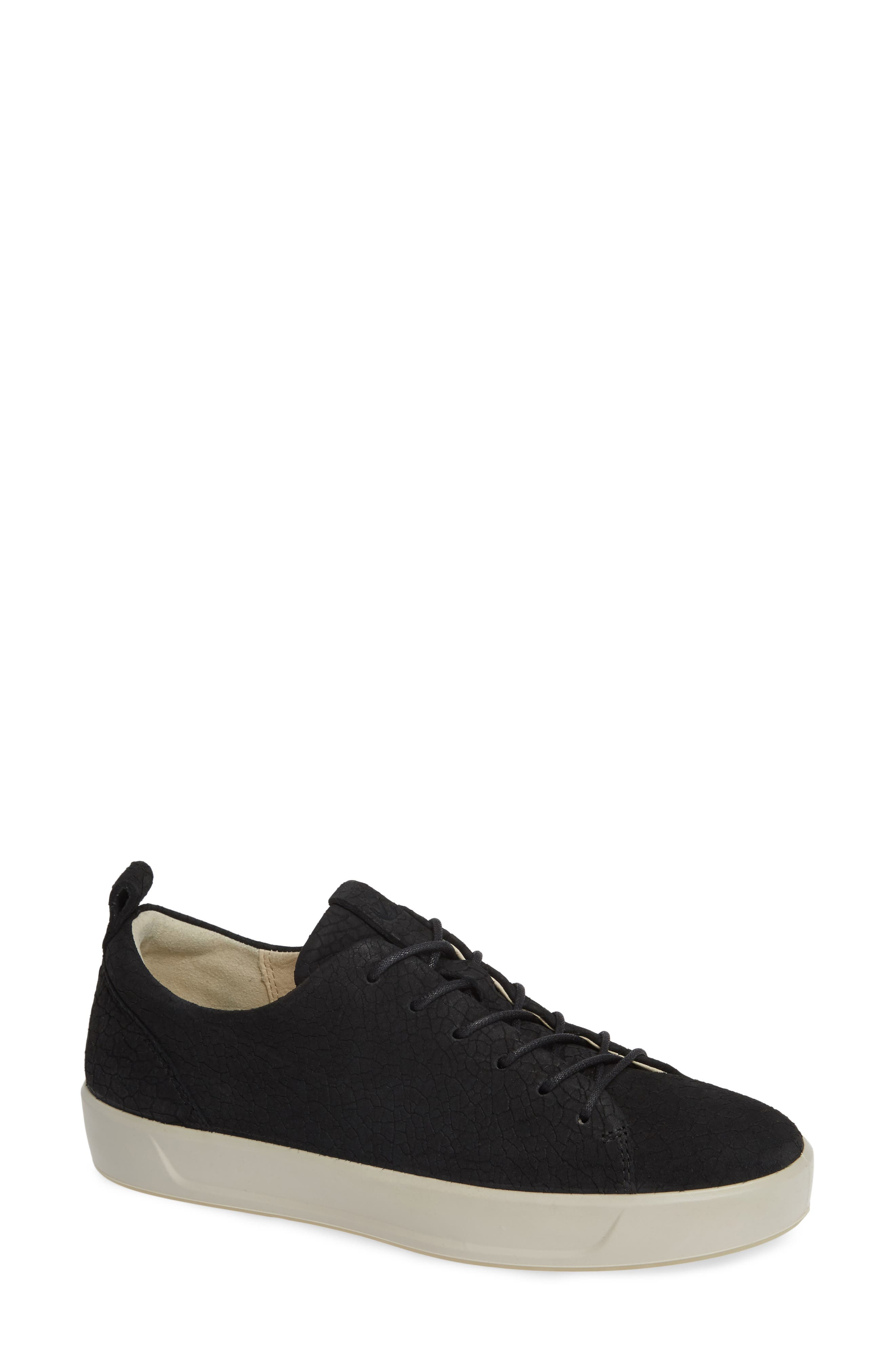 Soft 8 Sneaker,                             Main thumbnail 1, color,                             BLACK CRACKLED LEATHER
