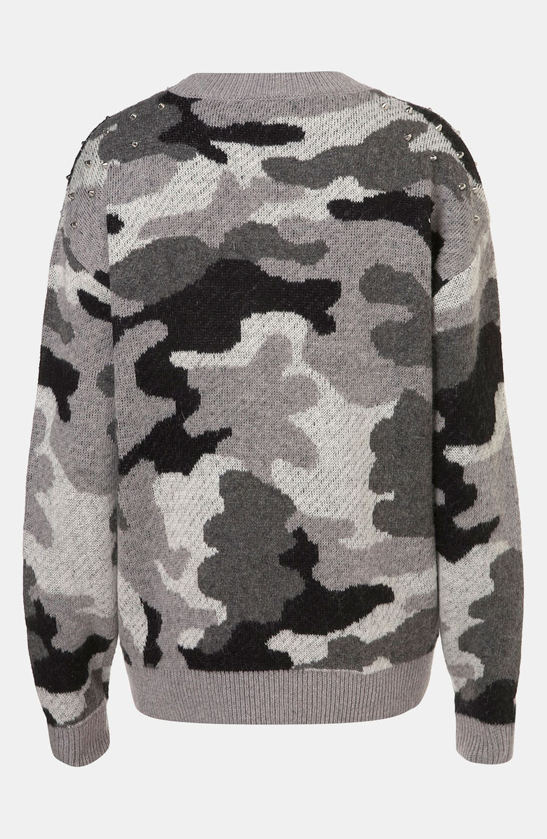 Studded Camouflage Sweater,                             Main thumbnail 1, color,                             020