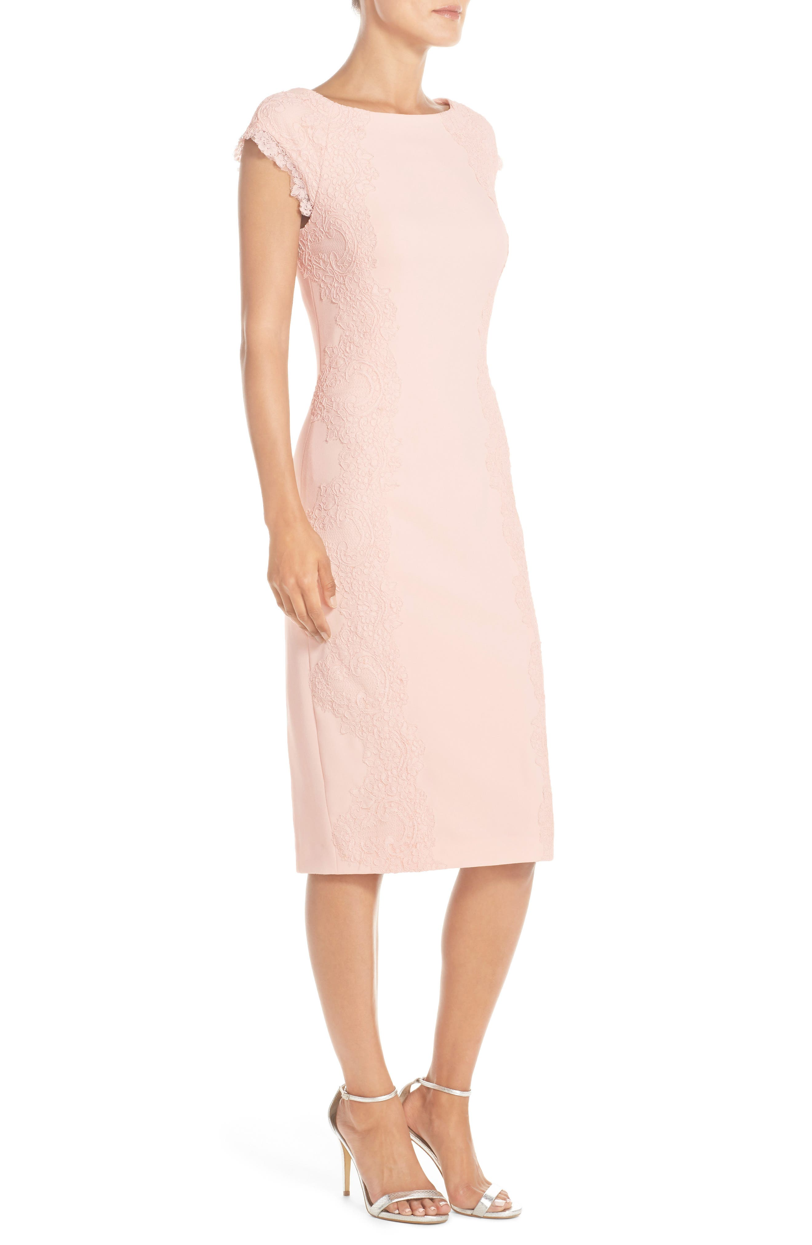 Lace Detail Crepe Sheath Dress,                             Alternate thumbnail 3, color,                             BLUSH